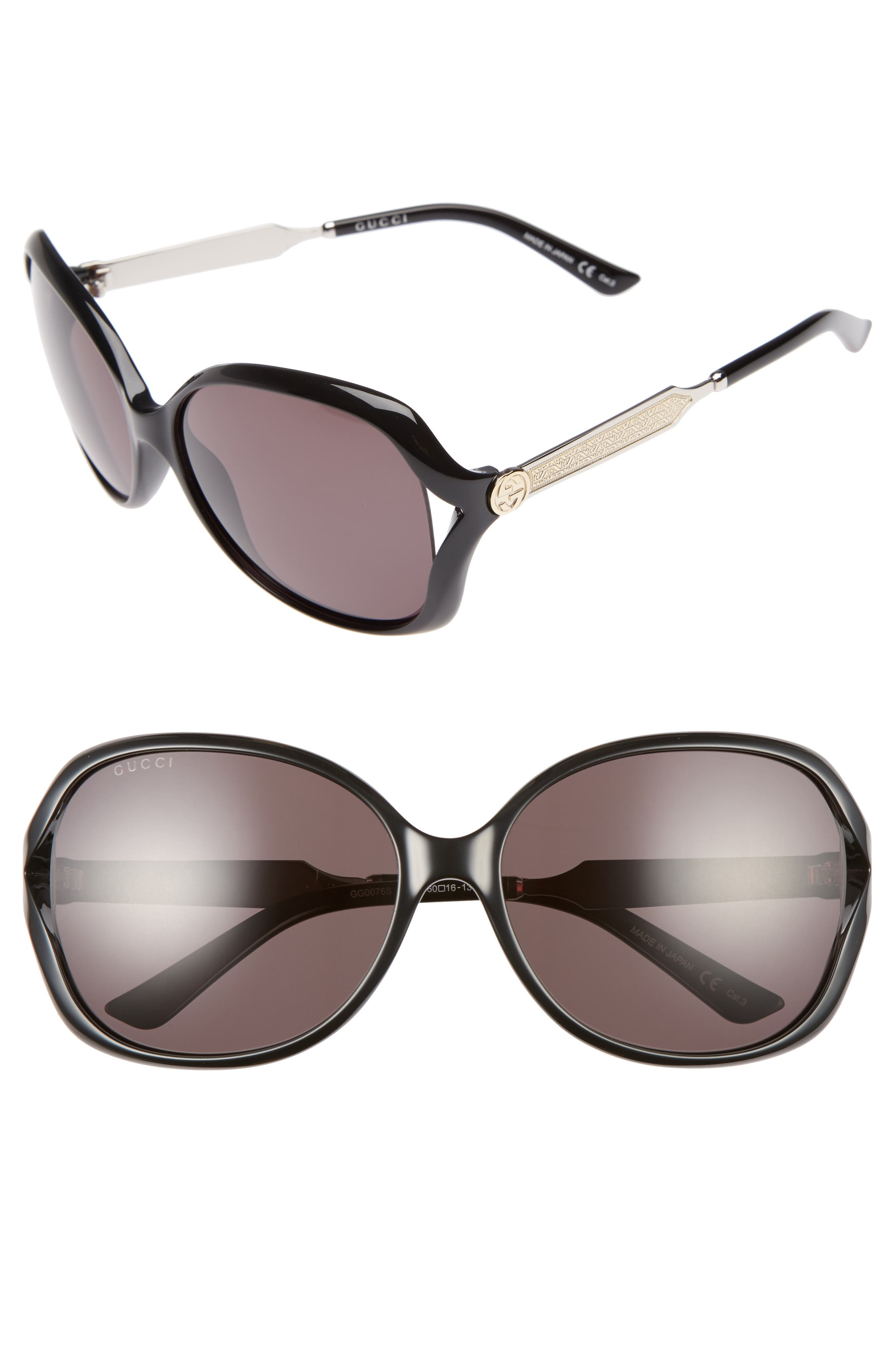 60mm Open Temple Oval Sunglasses,                         Main,                         color, BLACK/ GREY
