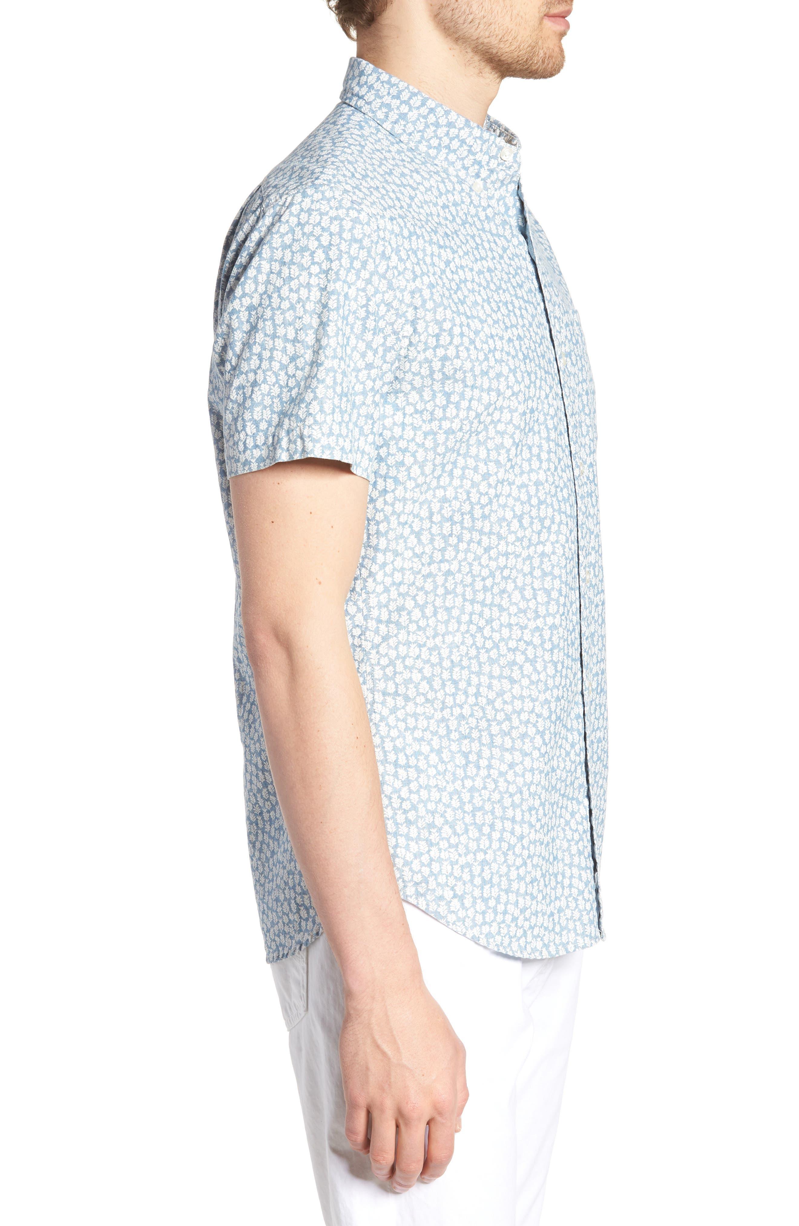 BONOBOS,                             Riviera Slim Fit Leaf Print Sport Shirt,                             Alternate thumbnail 3, color,                             400