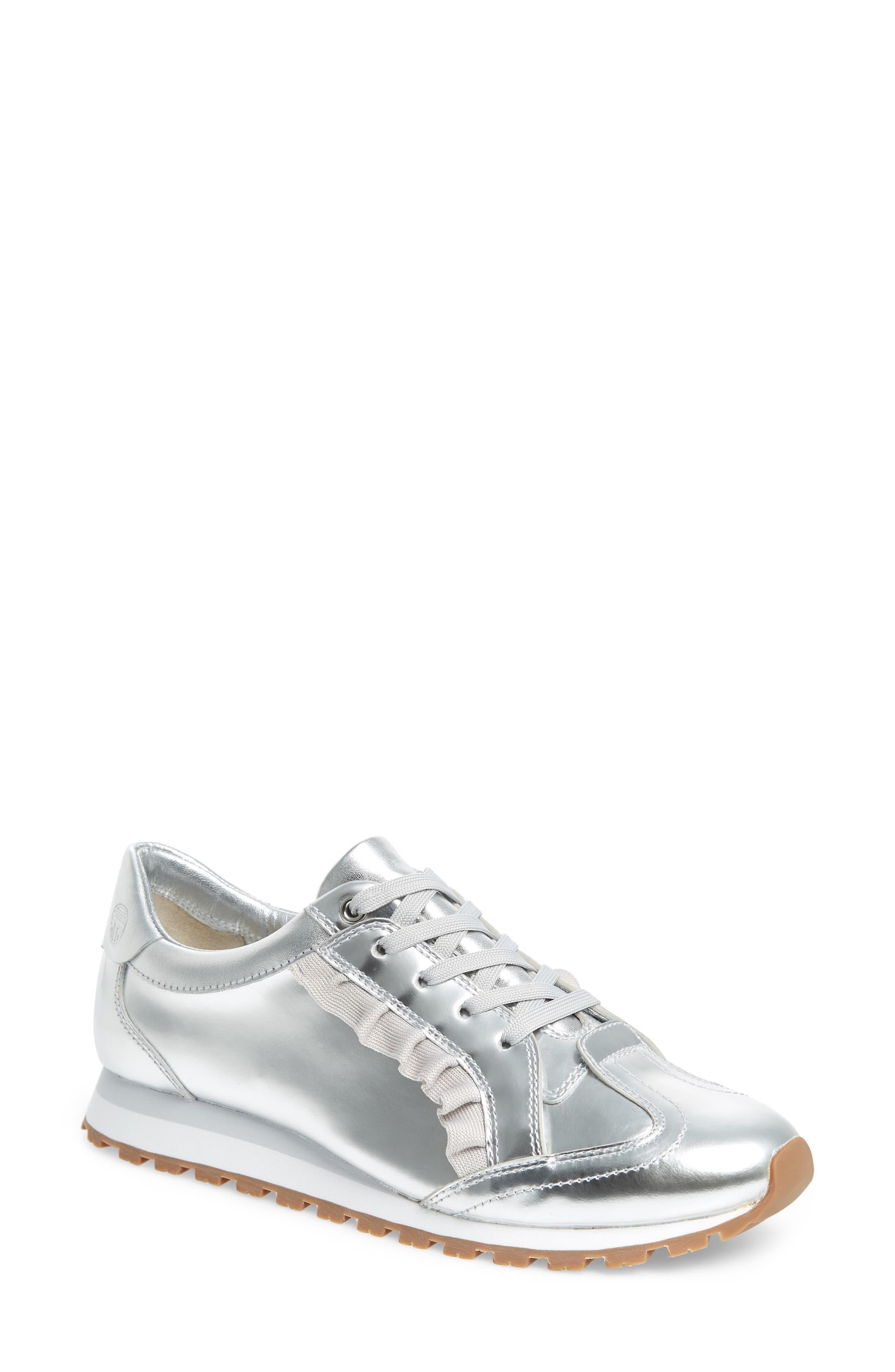 TORY SPORT Ruffle Sneaker, Main, color, SILVER/ GRAY