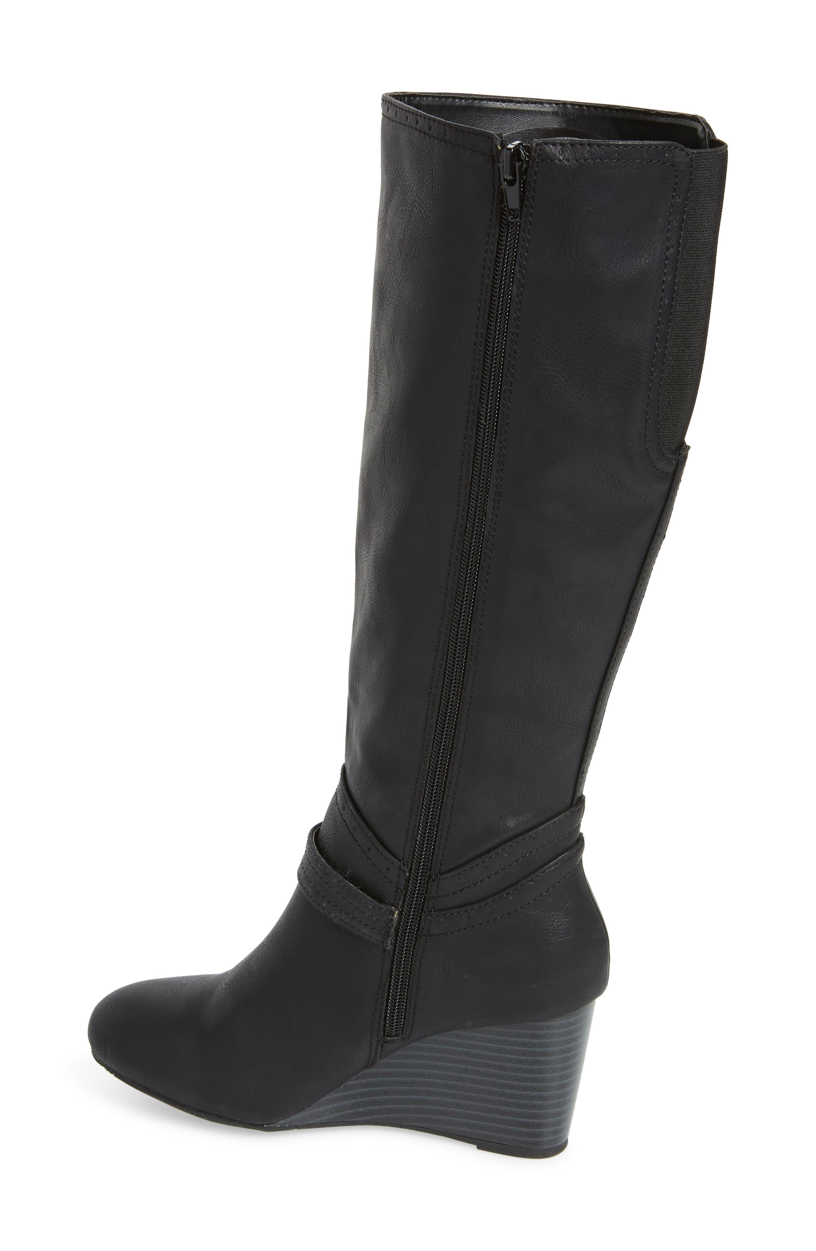 Claretta Knee High Wedge Boot,                             Alternate thumbnail 2, color,                             BLACK VEGAN LEATHER