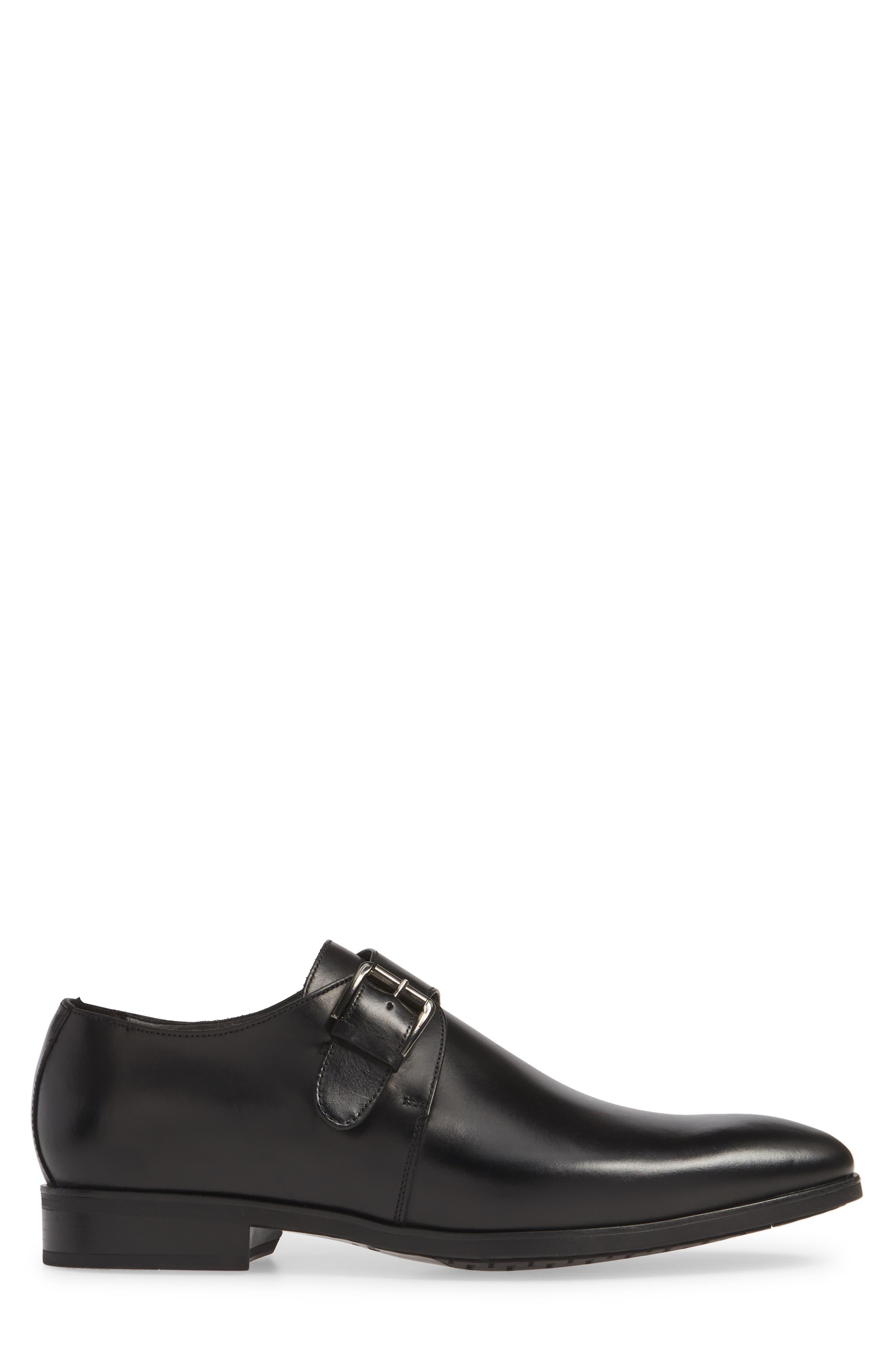 Scarpa Monk Strap Shoe,                             Alternate thumbnail 3, color,                             BLACK LEATHER