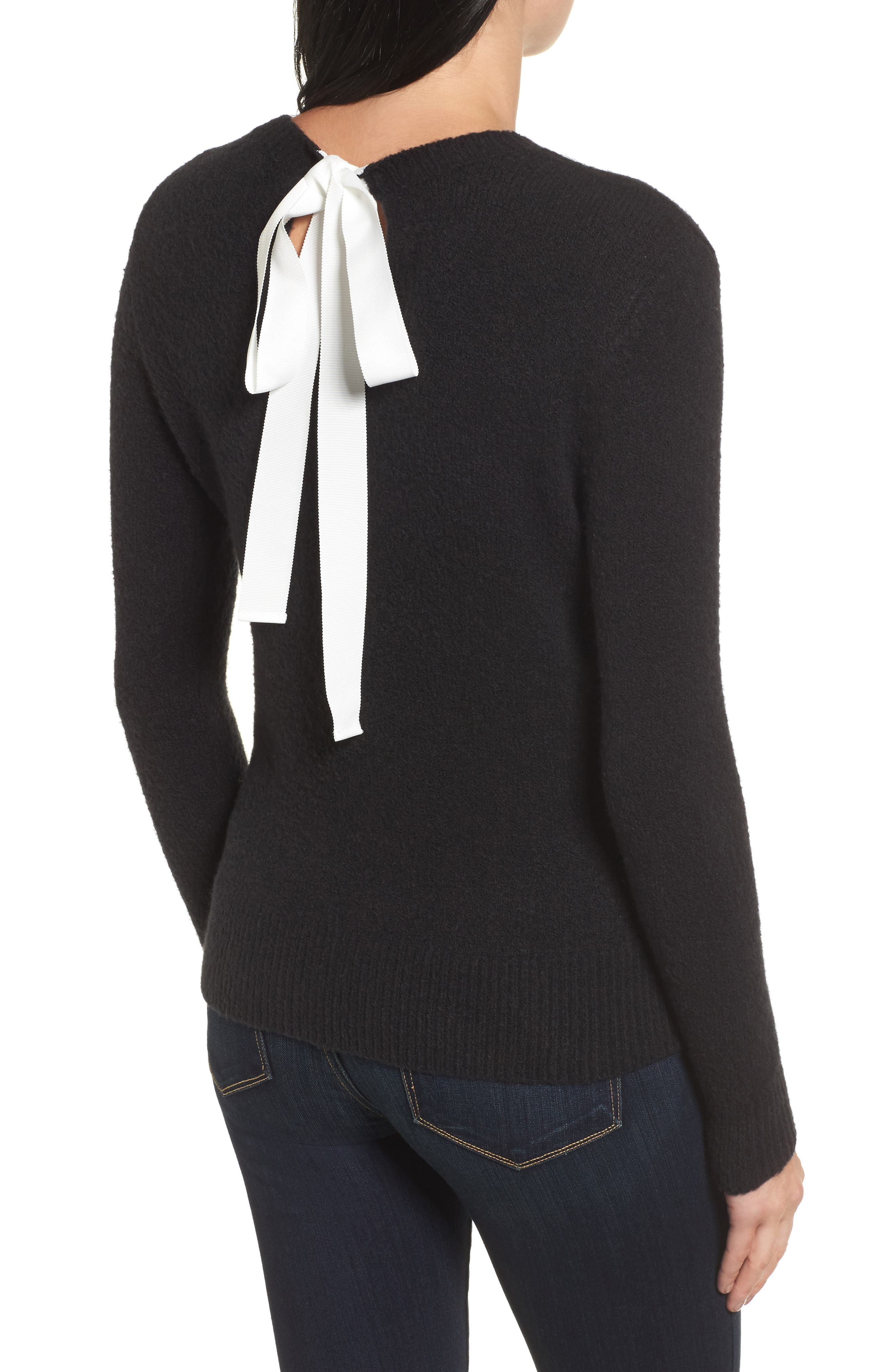 Tie Back Sweater,                             Alternate thumbnail 2, color,                             001