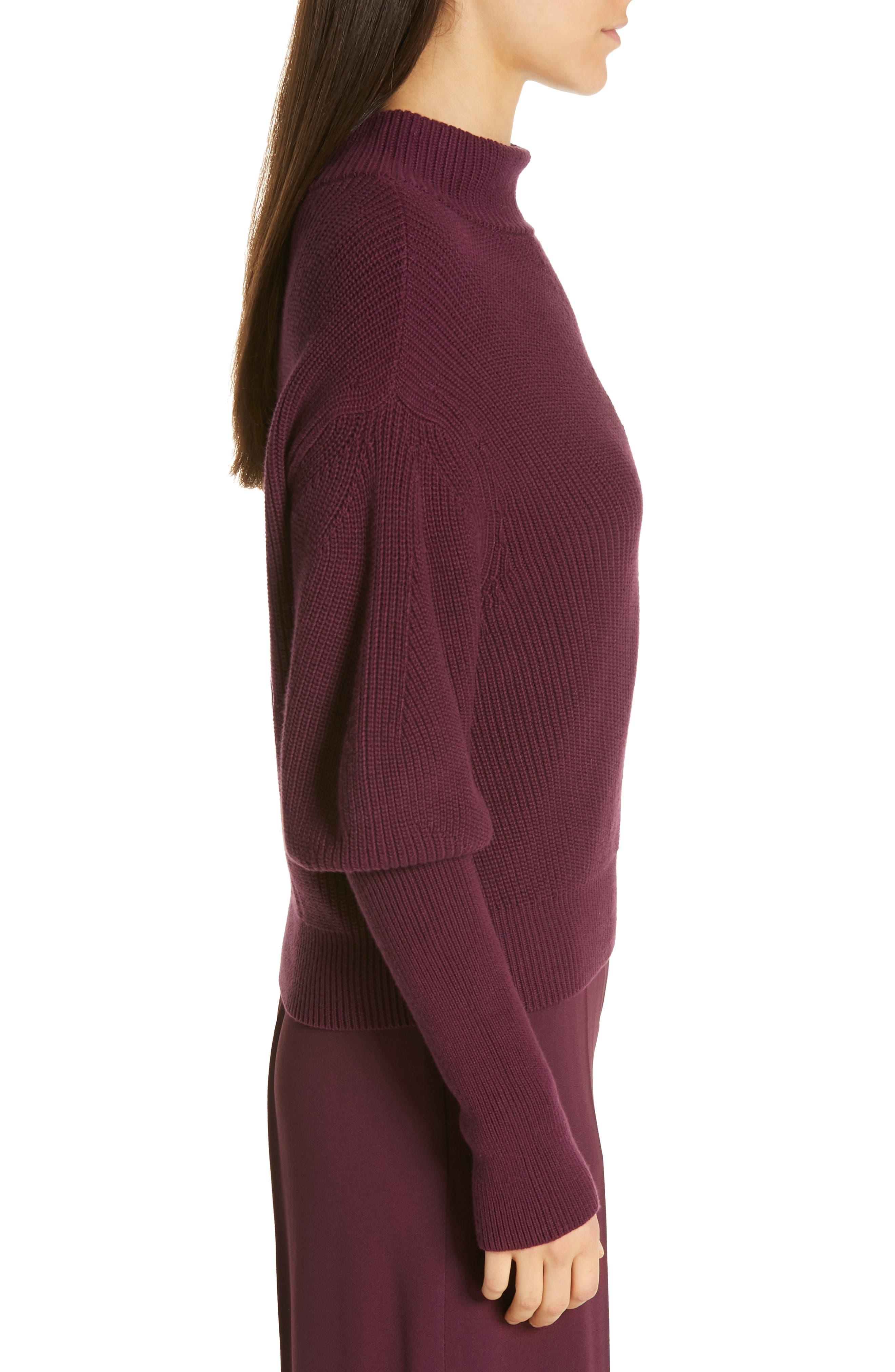 Flix Balloon Sleeve Sweater,                             Alternate thumbnail 3, color,                             DARK BERRY