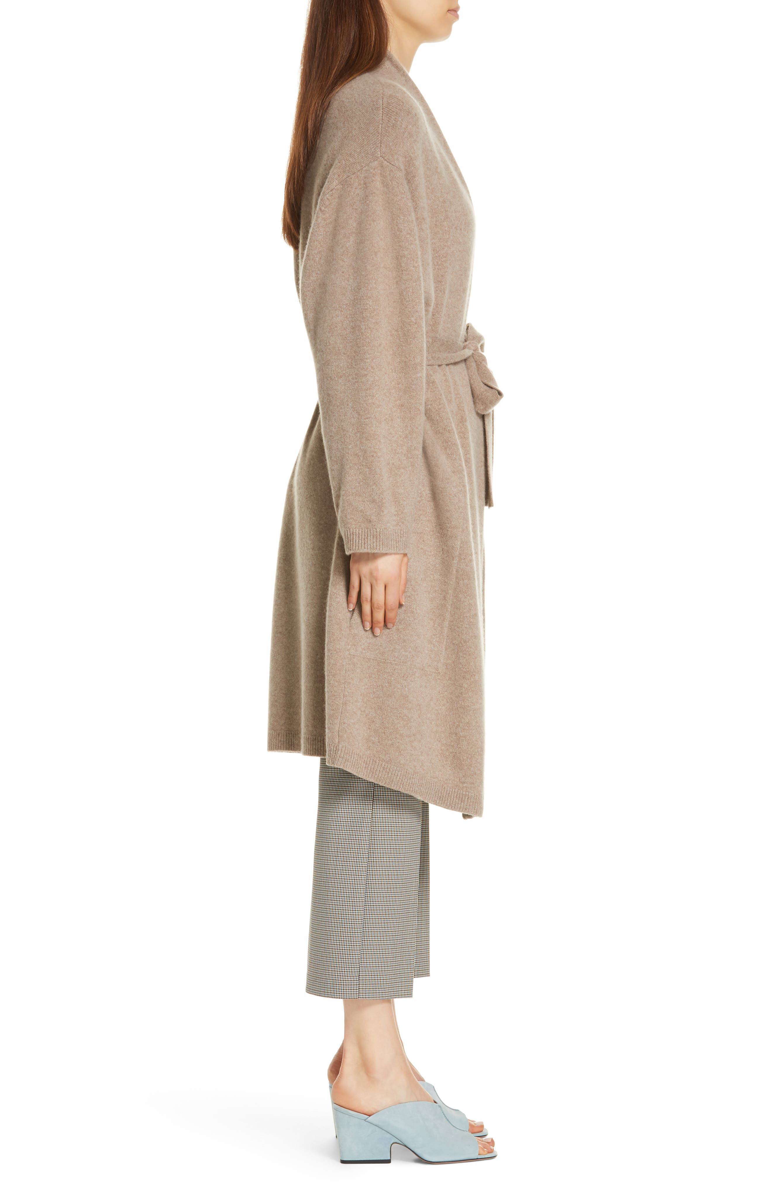 Long Boiled Cashmere Cardigan,                             Alternate thumbnail 3, color,                             GREY TAUPE HEATHER