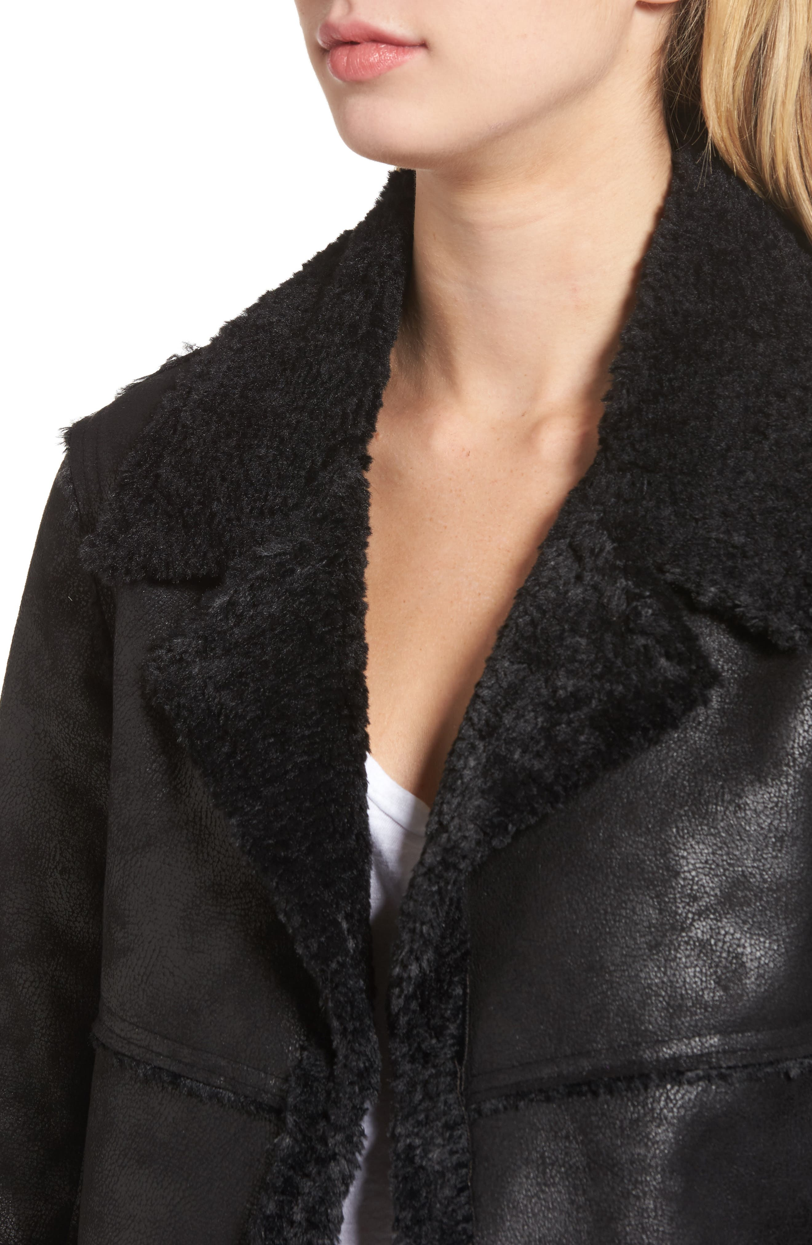 Claudine Faux Shearling Moto Jacket,                             Alternate thumbnail 4, color,                             001