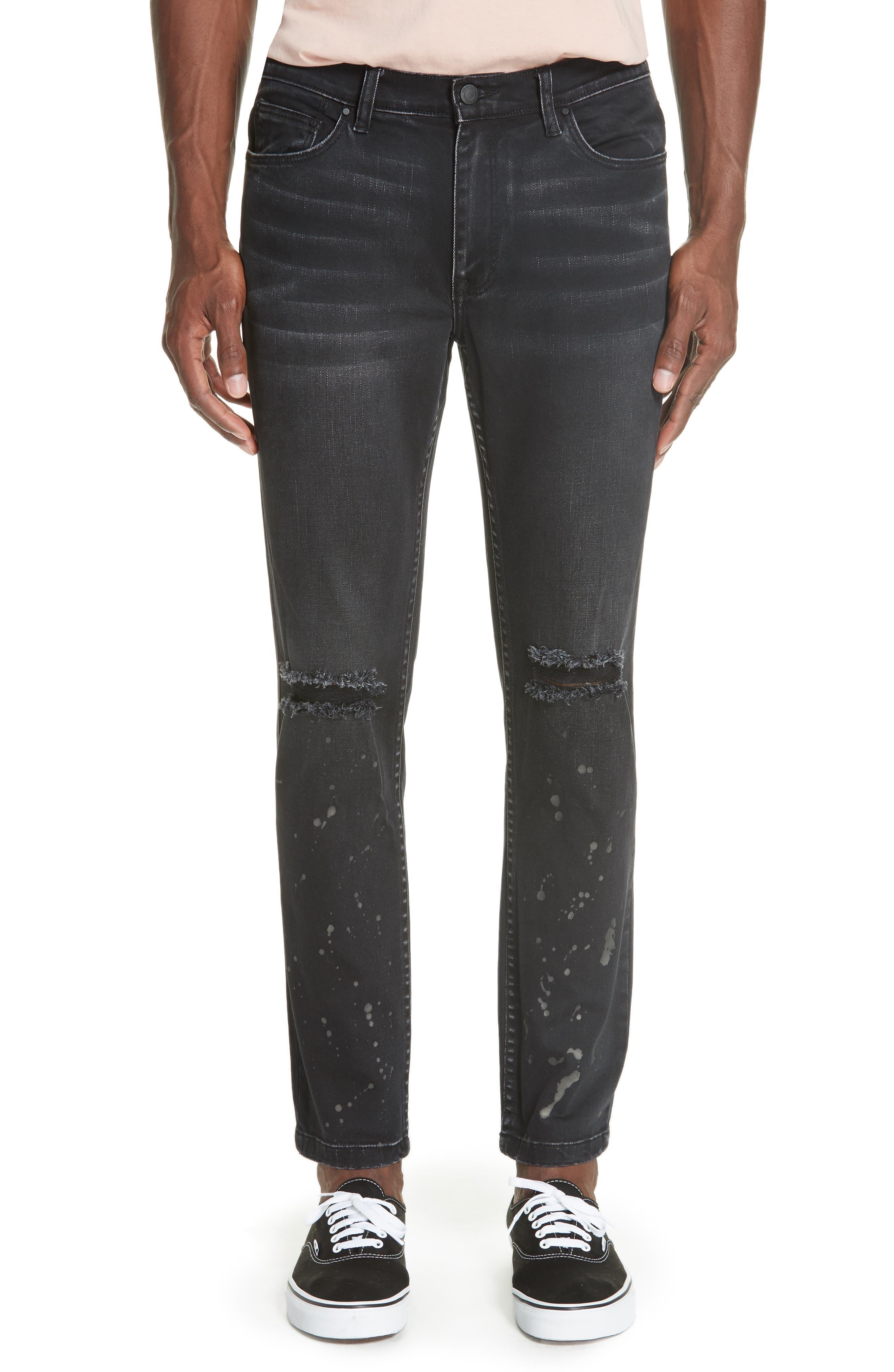 Distressed Slim Fit Jeans,                         Main,                         color, BLACK