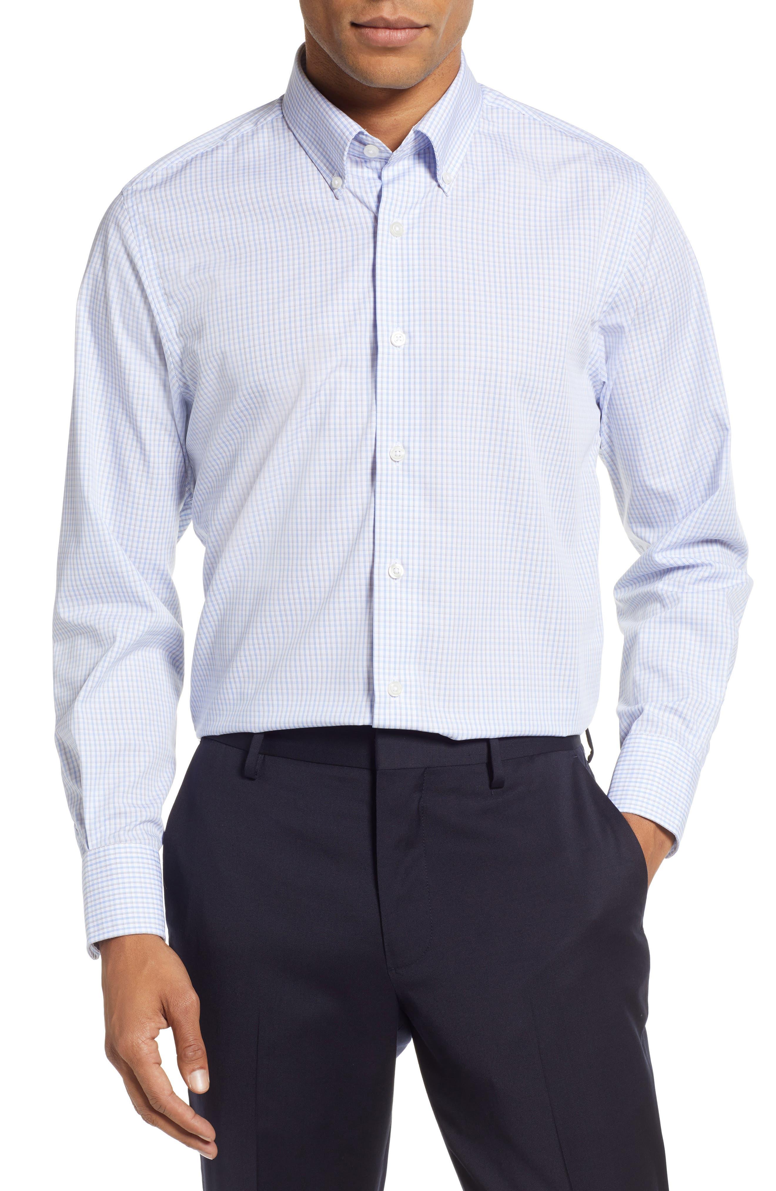 Classic Fit Check Dress Shirt,                             Main thumbnail 1, color,                             BROWN