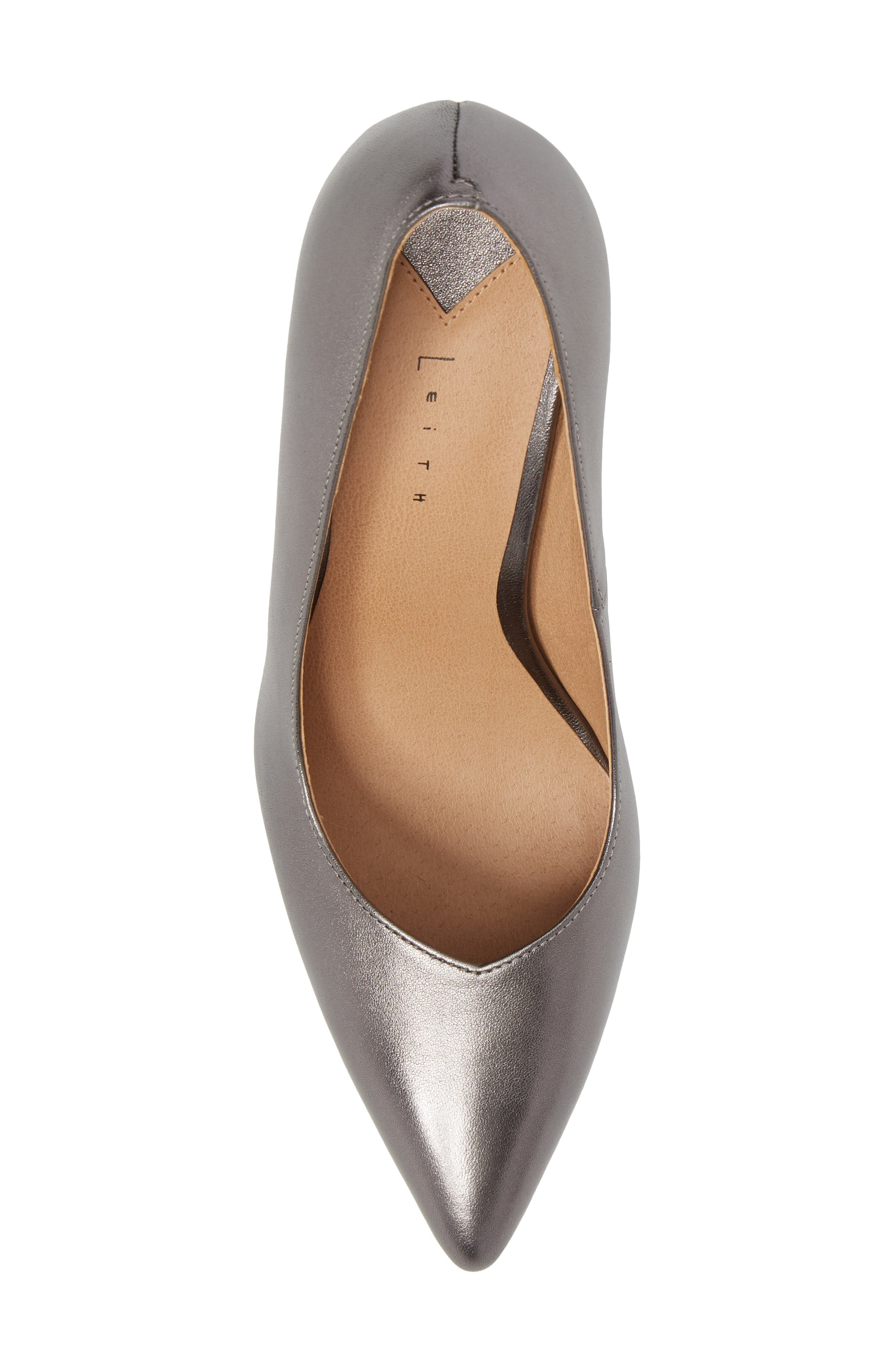 Palma Pointy Toe Pump,                             Alternate thumbnail 5, color,                             GUNMETAL LEATHER