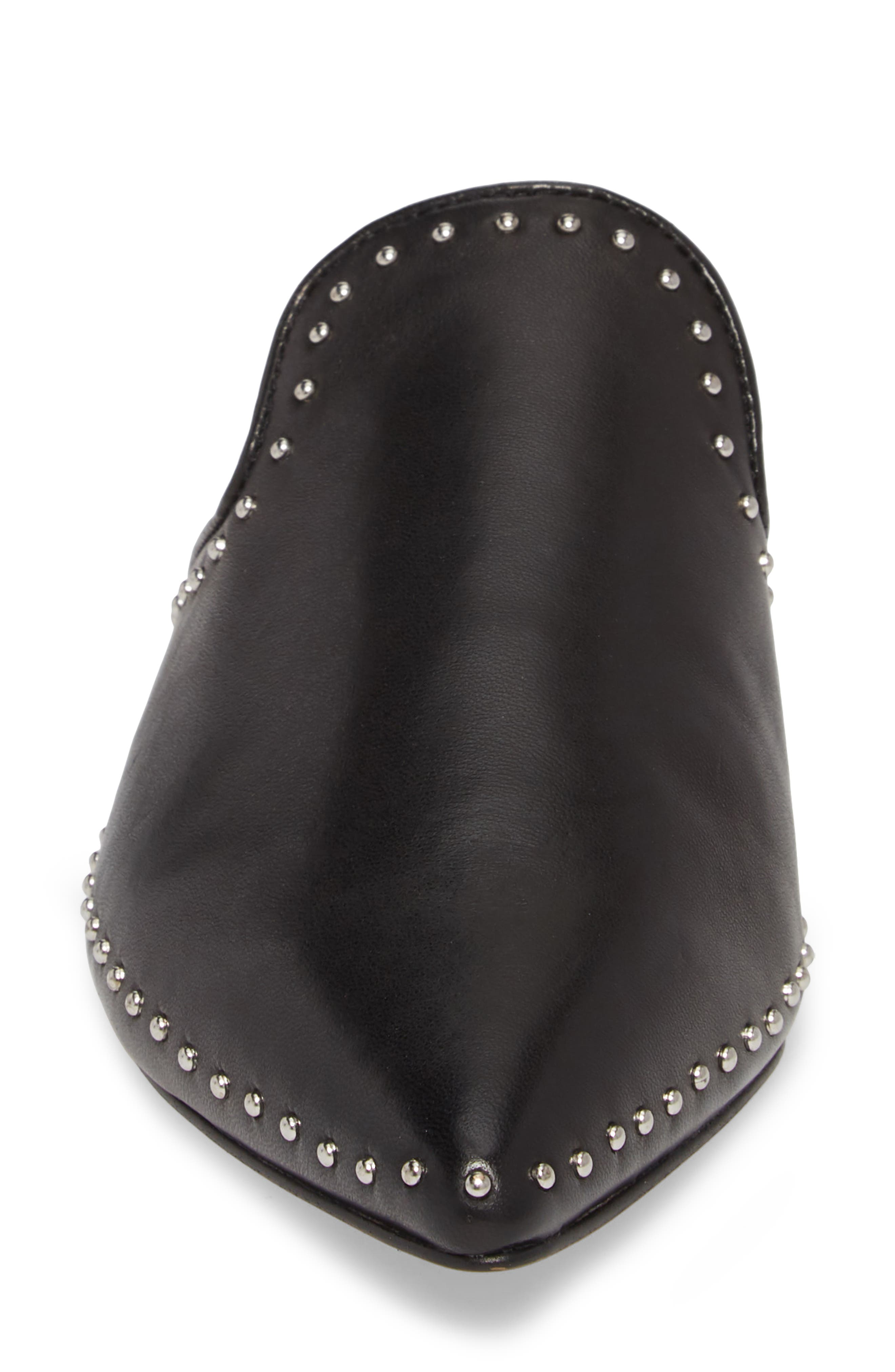 Chamille Studded Mule,                             Alternate thumbnail 4, color,                             BLACK LEATHER