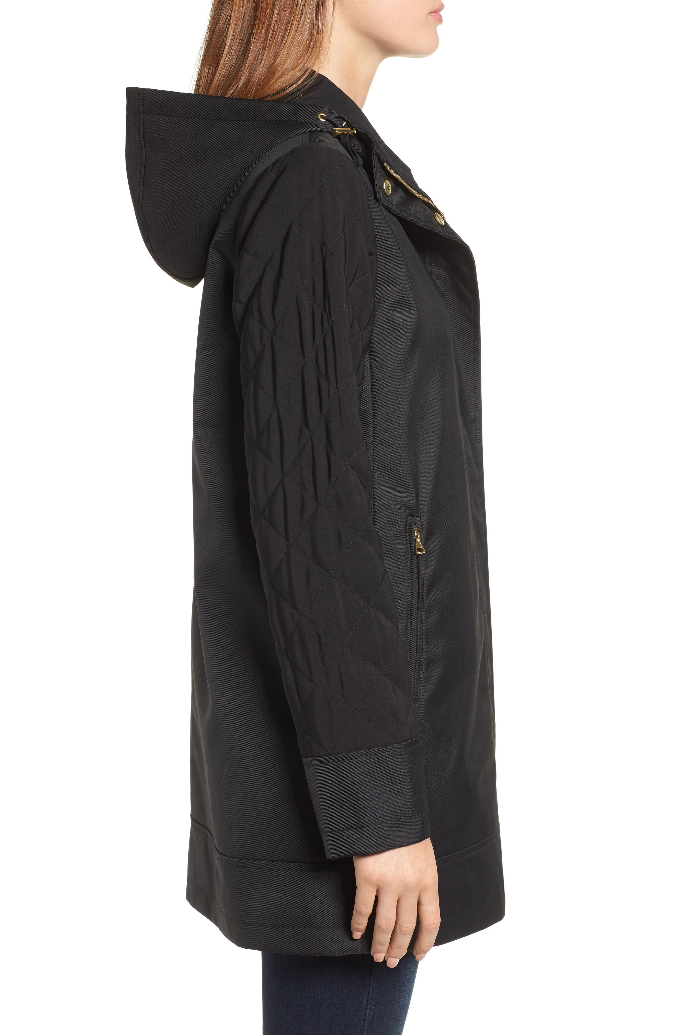 Hallie Quilted Sleeve Twill Parka,                             Alternate thumbnail 3, color,                             BLACK