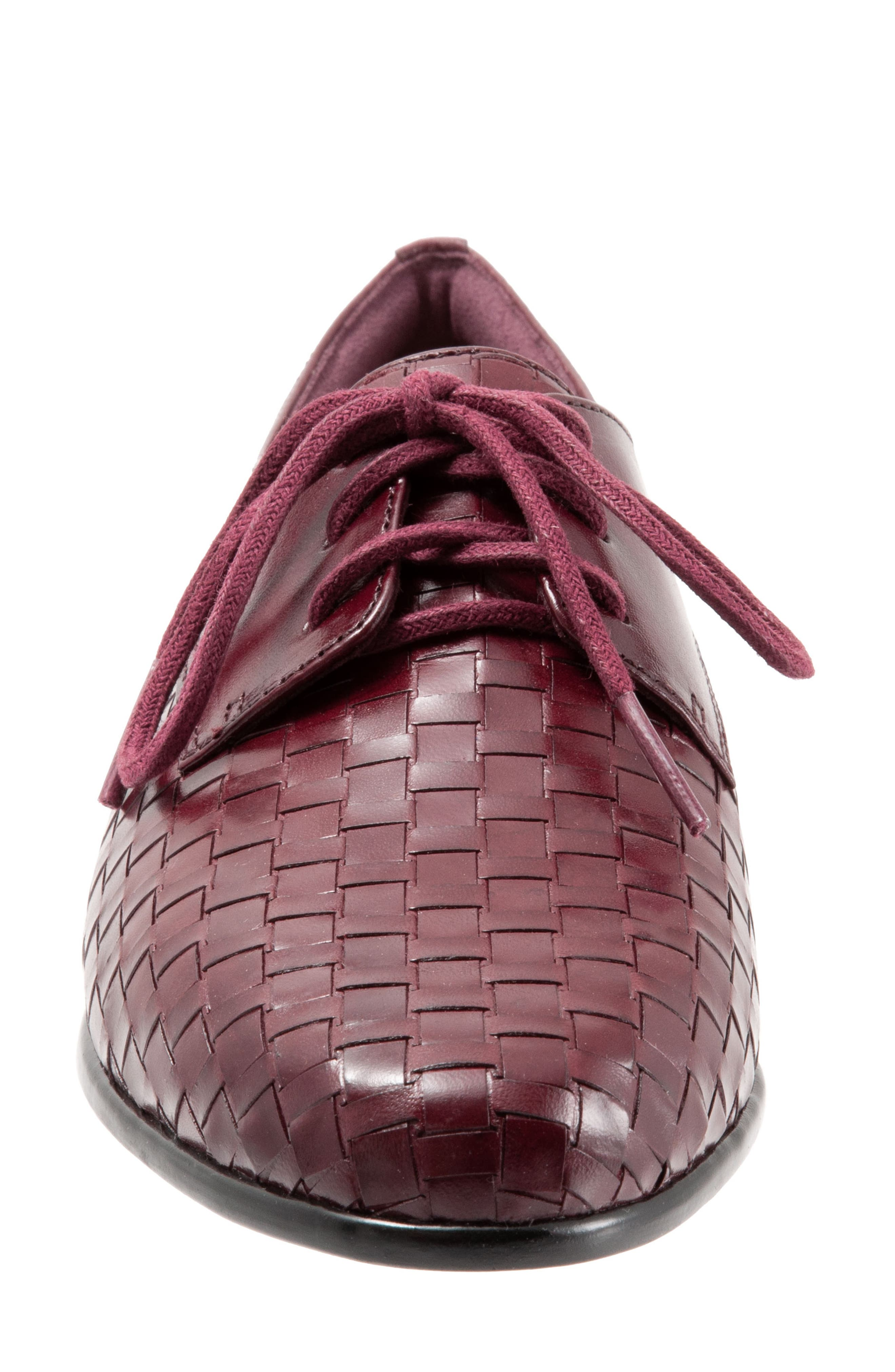 Lizzie Derby Flat,                             Alternate thumbnail 4, color,                             BLACK CHERRY LEATHER