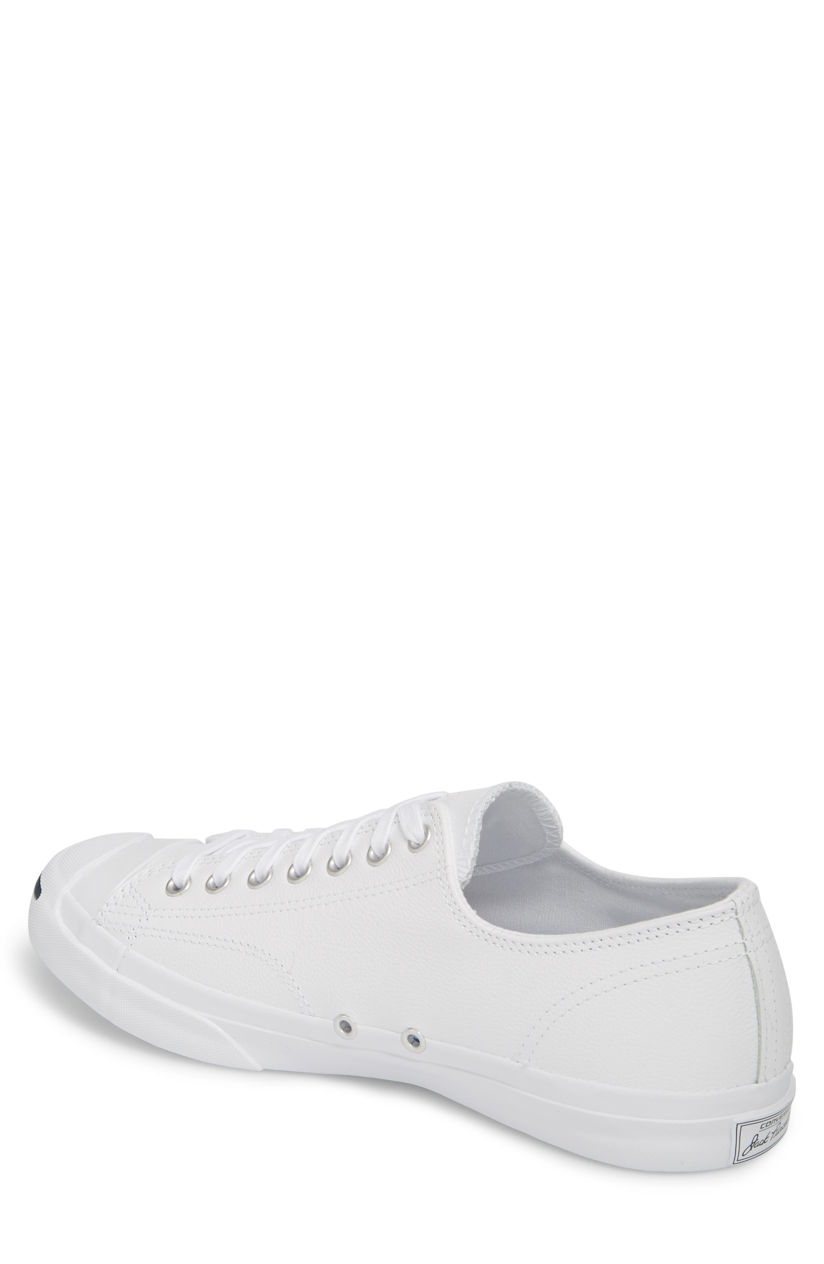 'Jack Purcell' Leather Sneaker,                             Alternate thumbnail 3, color,                             WHITE/ NAVY