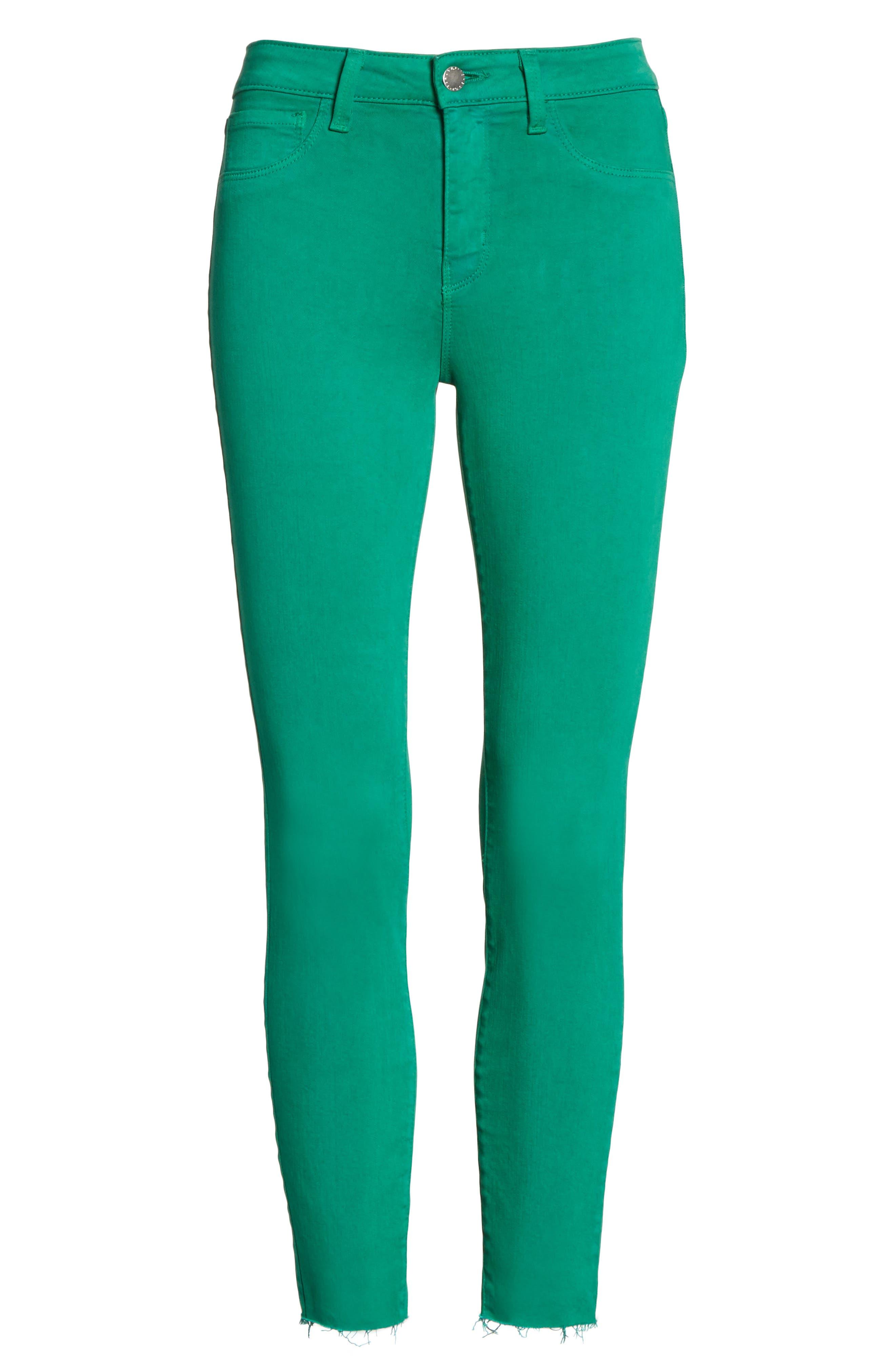 Margot Crop Skinny Jeans,                             Alternate thumbnail 6, color,                             EMERALD