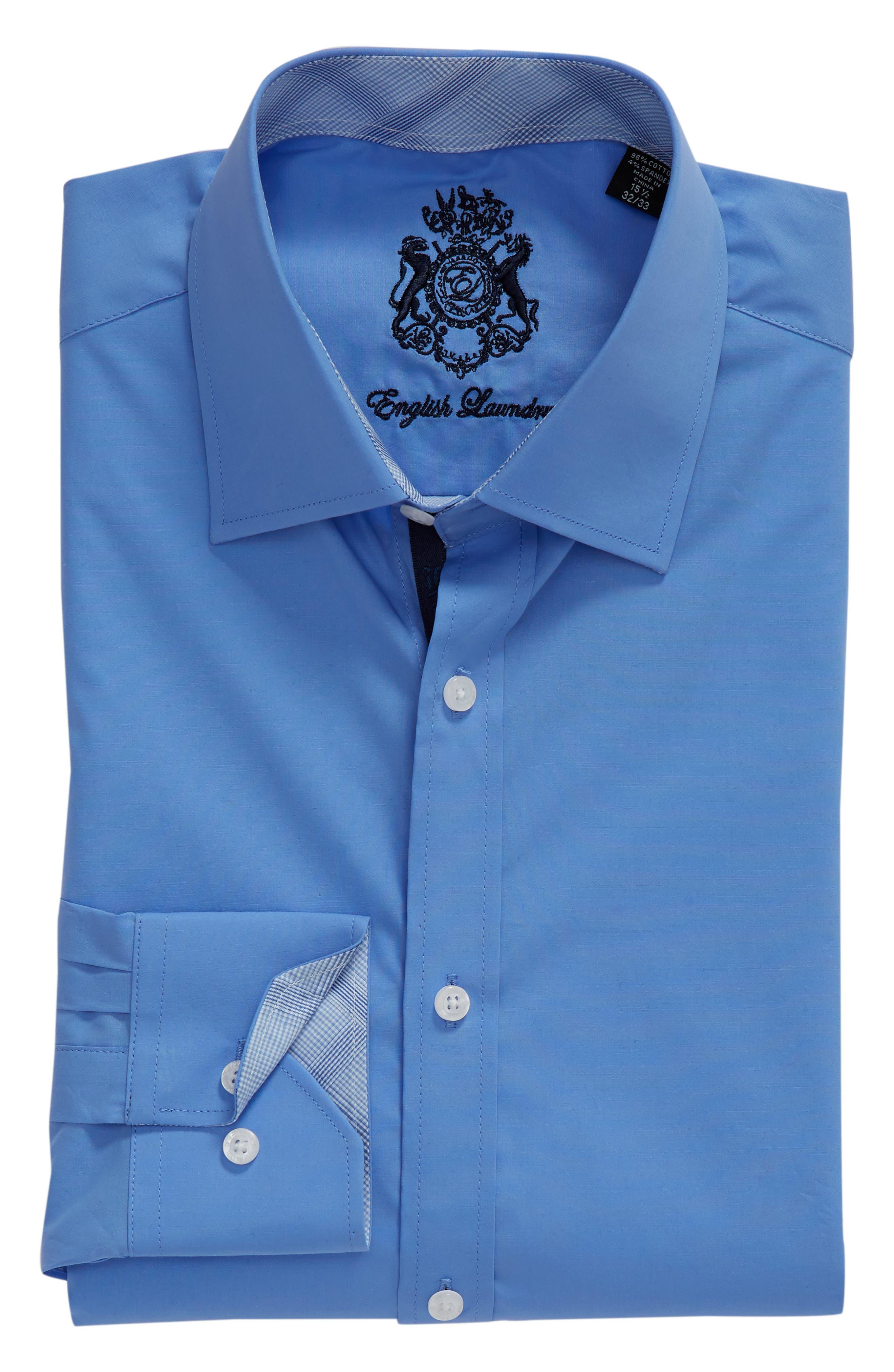 Regular Fit Stretch Solid Dress Shirt,                             Alternate thumbnail 5, color,                             BLUE