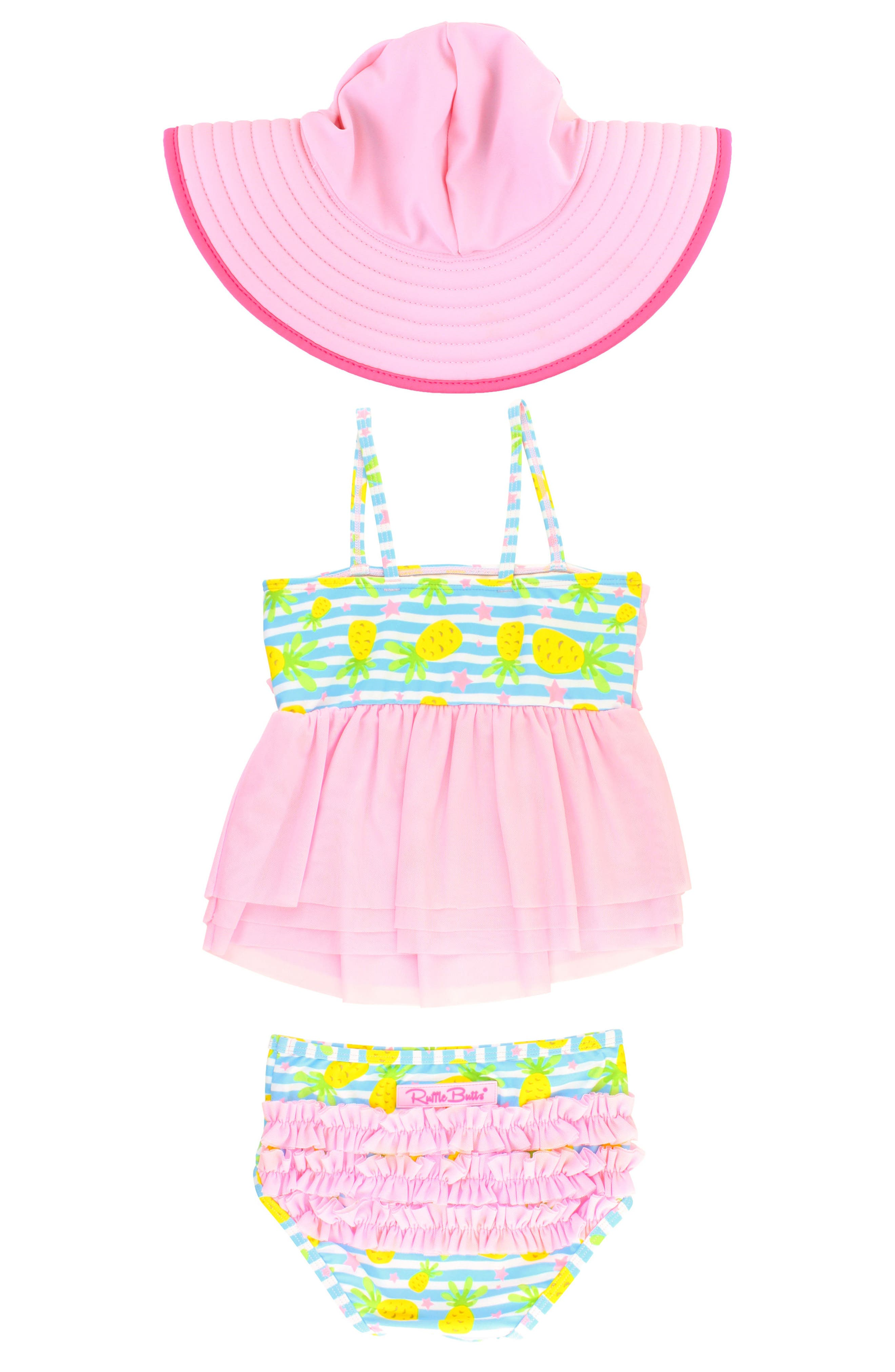 Paradise Mesh Two-Piece Swimsuit & Hat Set,                             Alternate thumbnail 3, color,                             BLUE