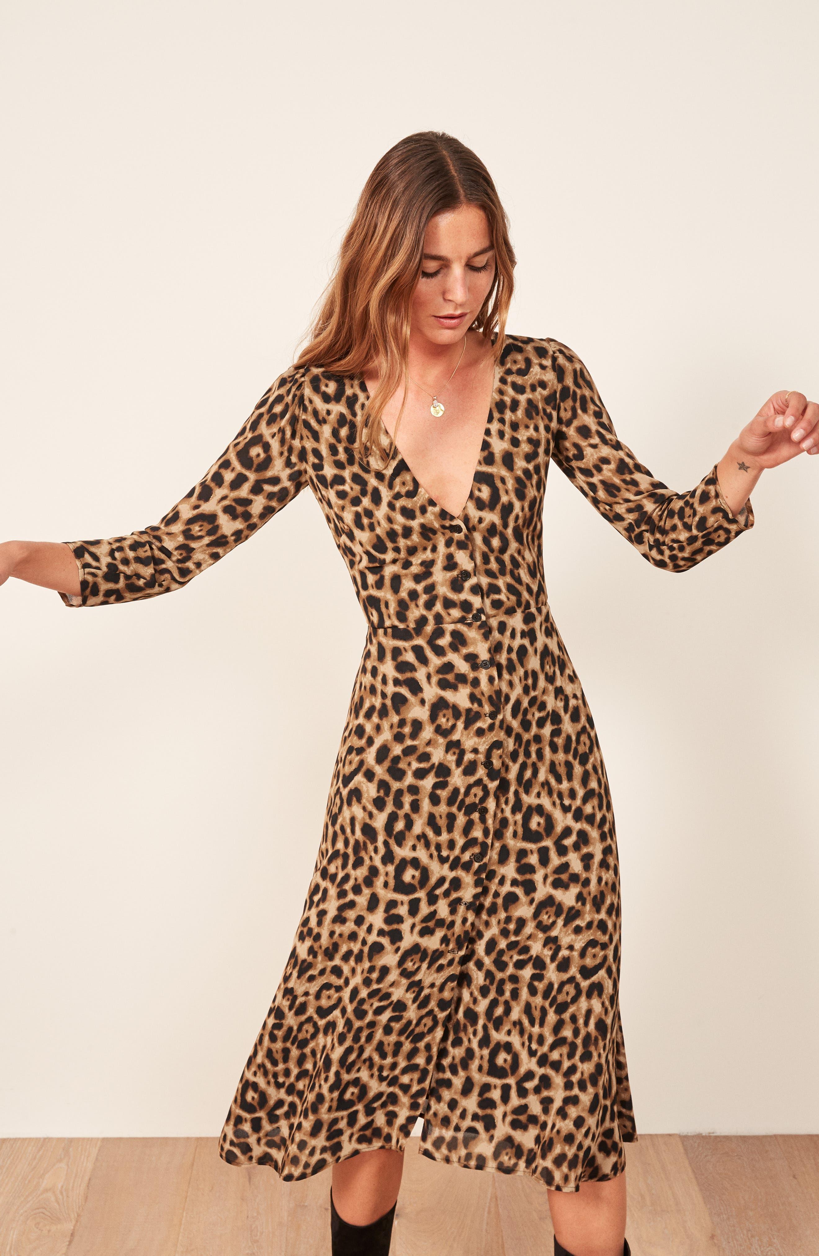Alma Midi Dress,                             Alternate thumbnail 4, color,                             LEOPARD