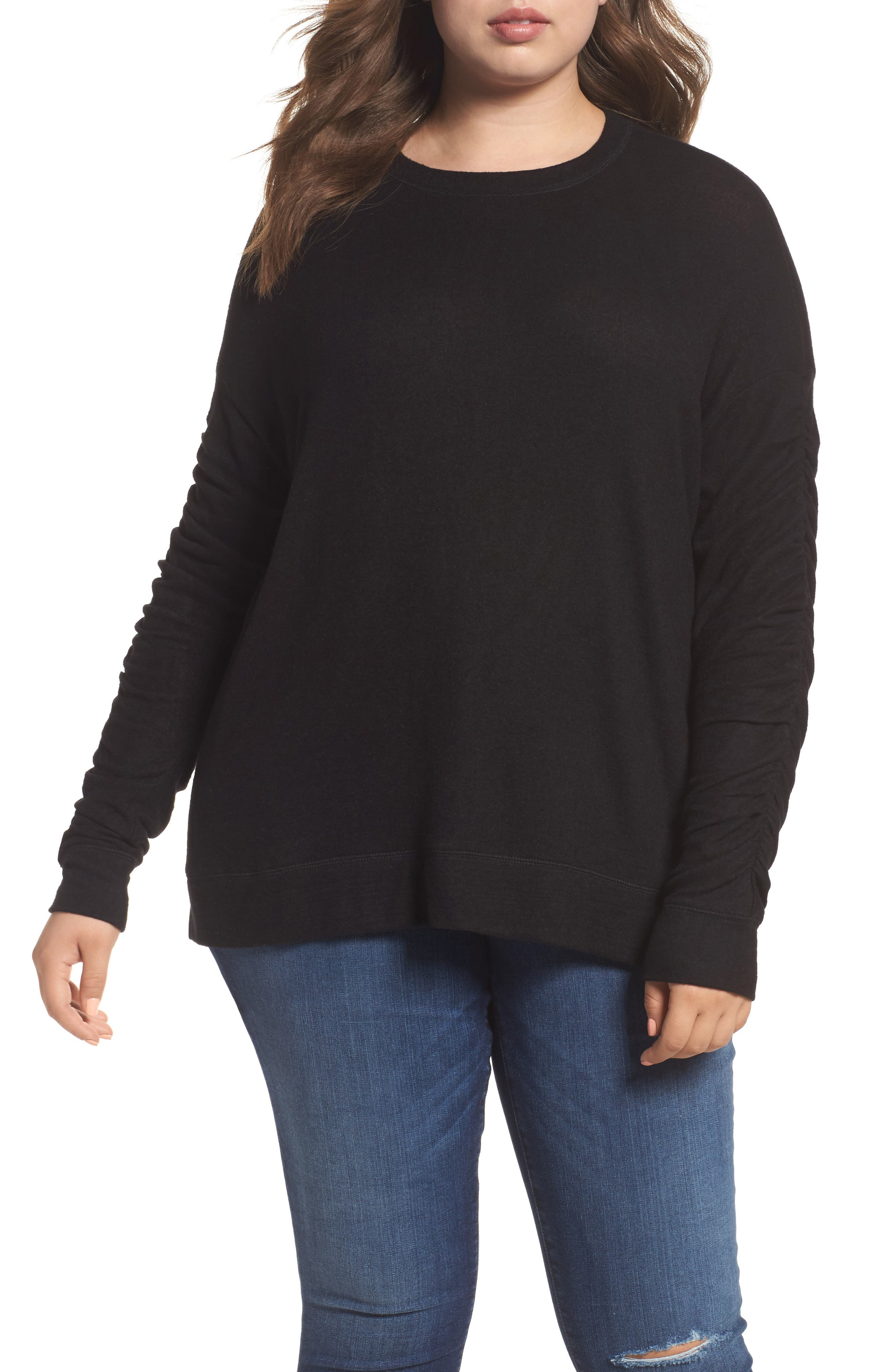 Ruched Sleeve Cozy Pullover,                             Main thumbnail 1, color,                             001