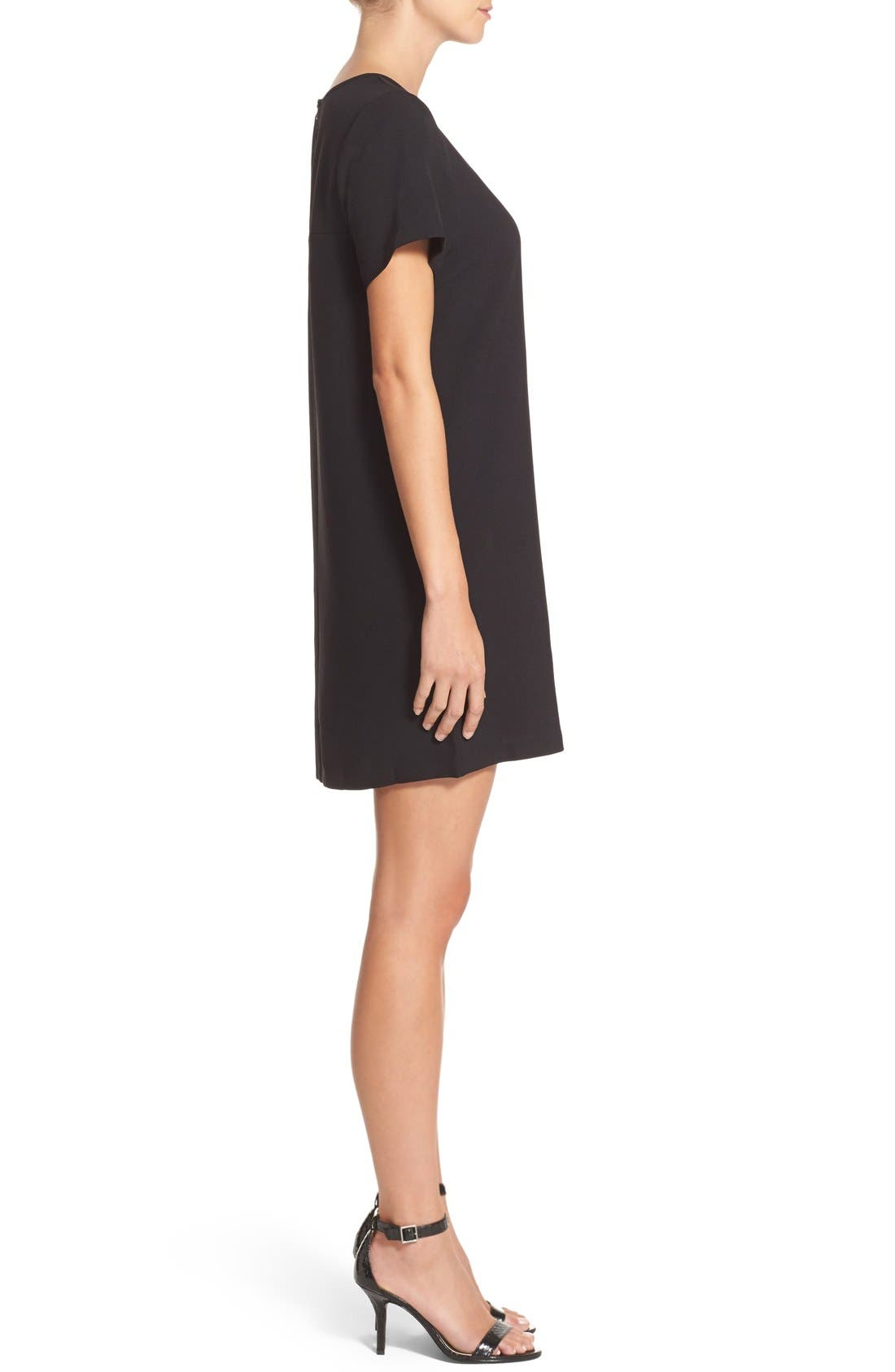 Devery Crepe Shift Dress,                             Alternate thumbnail 3, color,                             BLACK