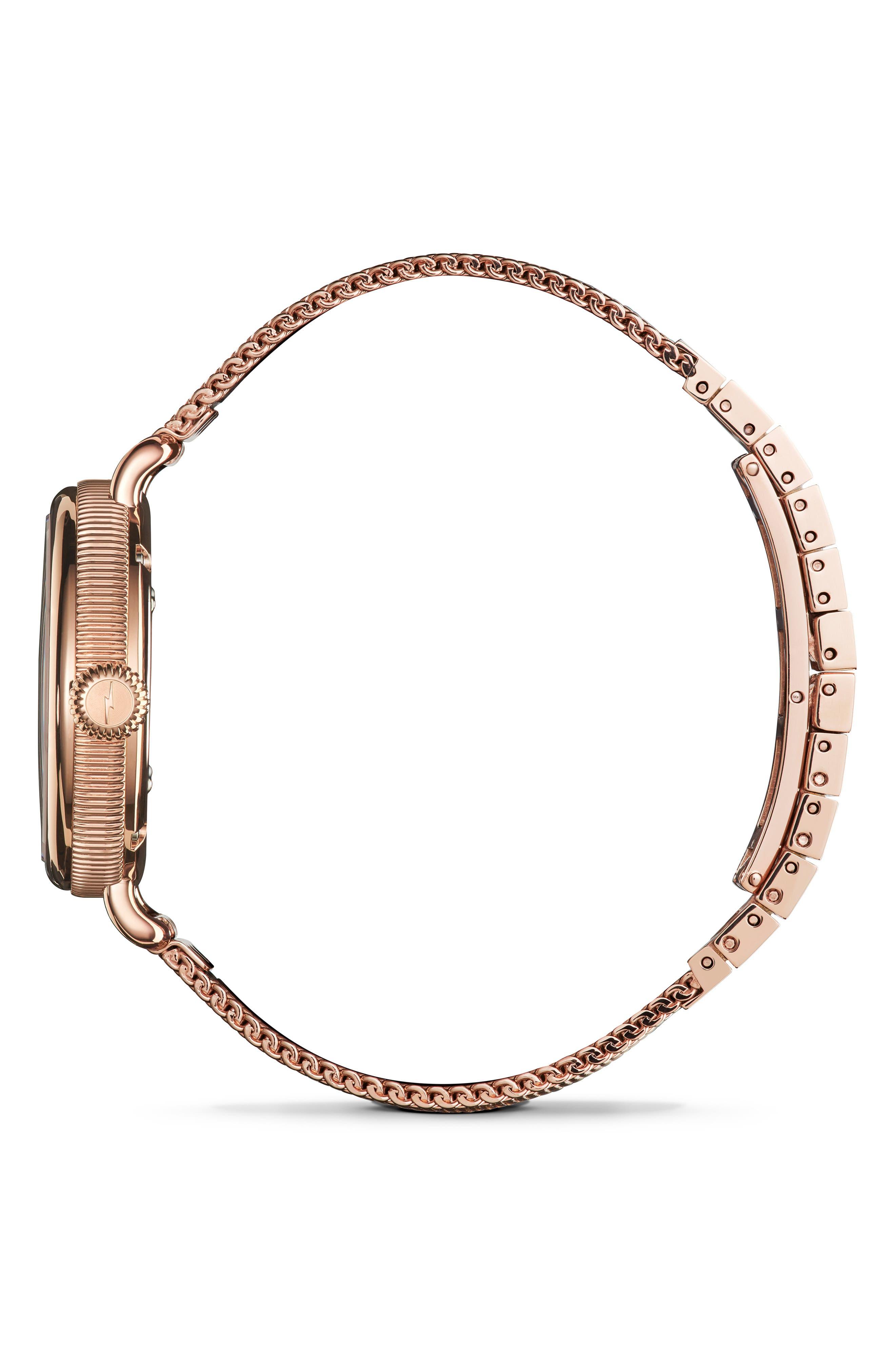 Birdy Mesh Bracelet Watch, 34mm,                             Alternate thumbnail 3, color,                             ROSE GOLD/ WHITE/ ROSE GOLD