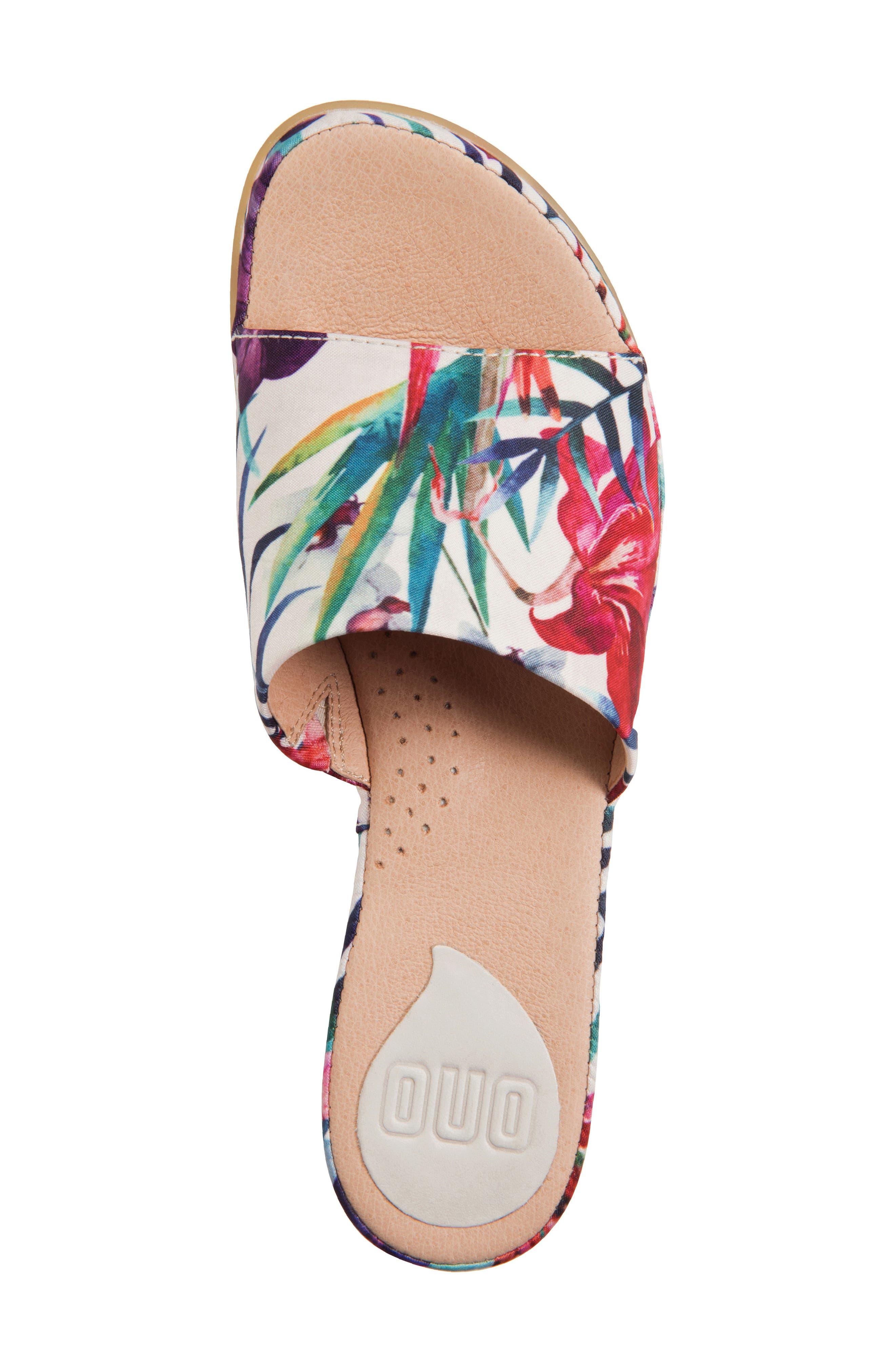 Bo Block Heel Slide Sandal,                             Alternate thumbnail 5, color,                             WHITE FABRIC