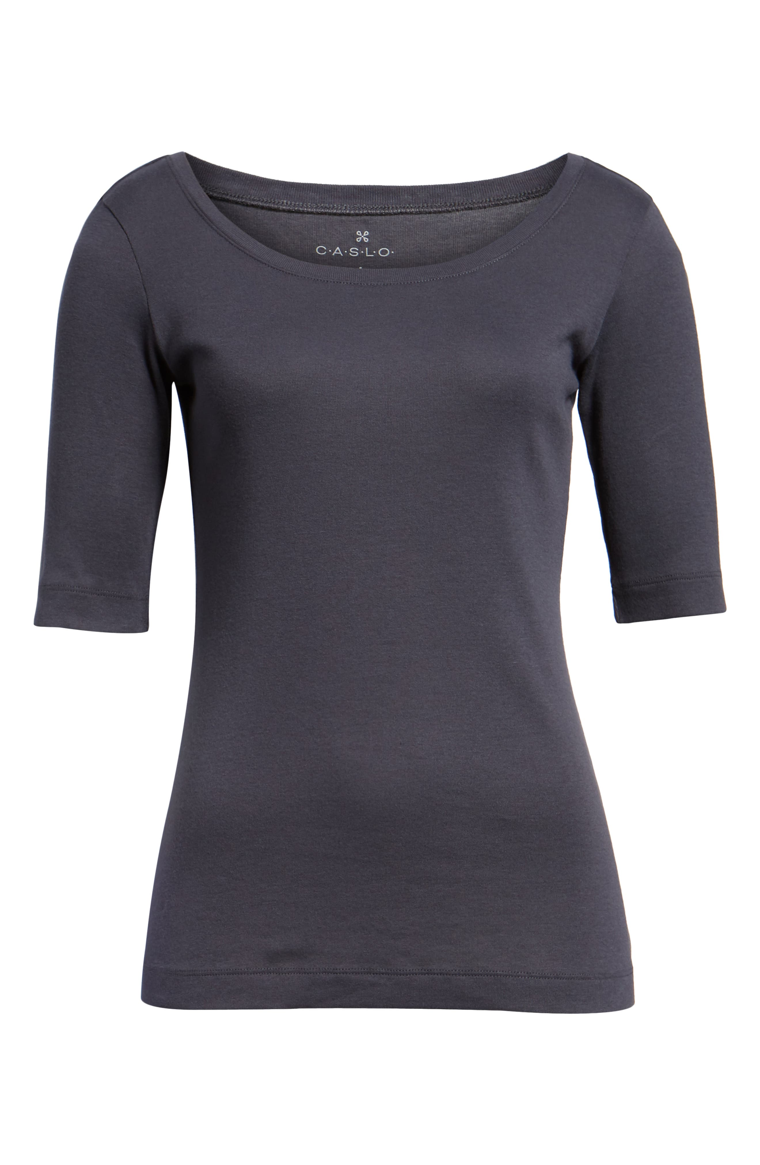 Ballet Neck Cotton & Modal Knit Elbow Sleeve Tee,                             Alternate thumbnail 6, color,                             GREY EBONY