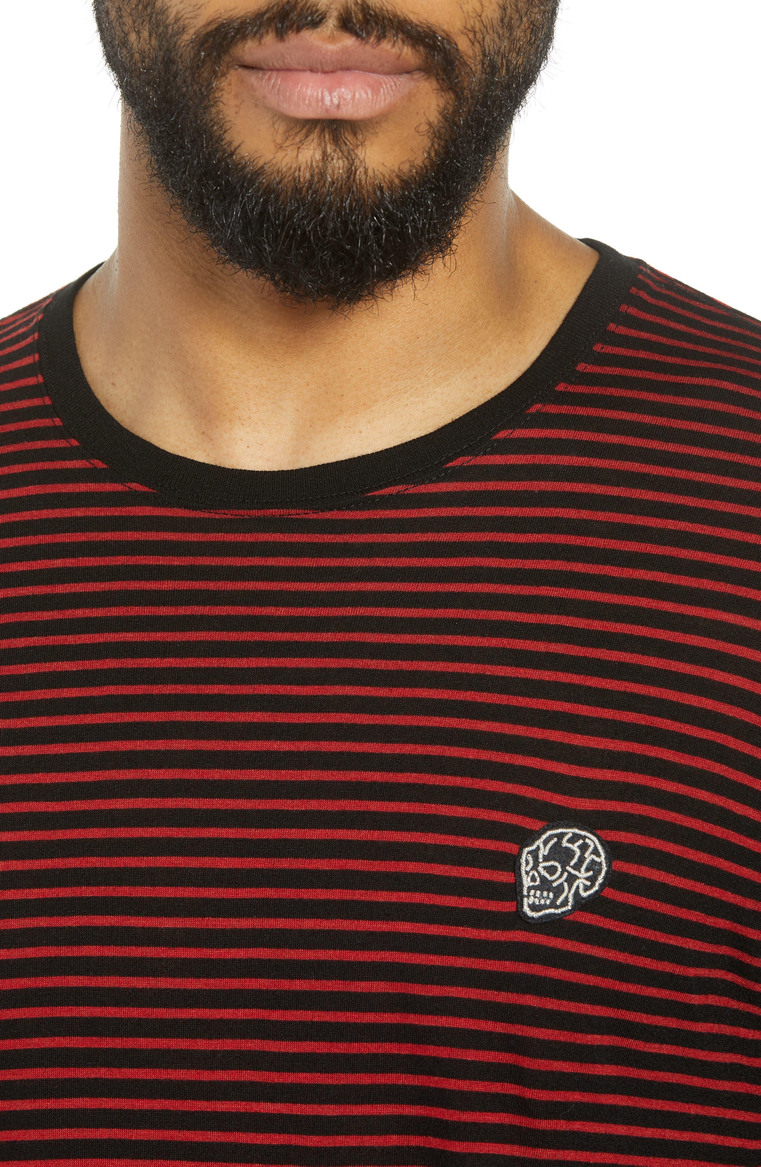 Skull Appliqué Striped Wool Blend T-Shirt,                             Alternate thumbnail 4, color,                             001