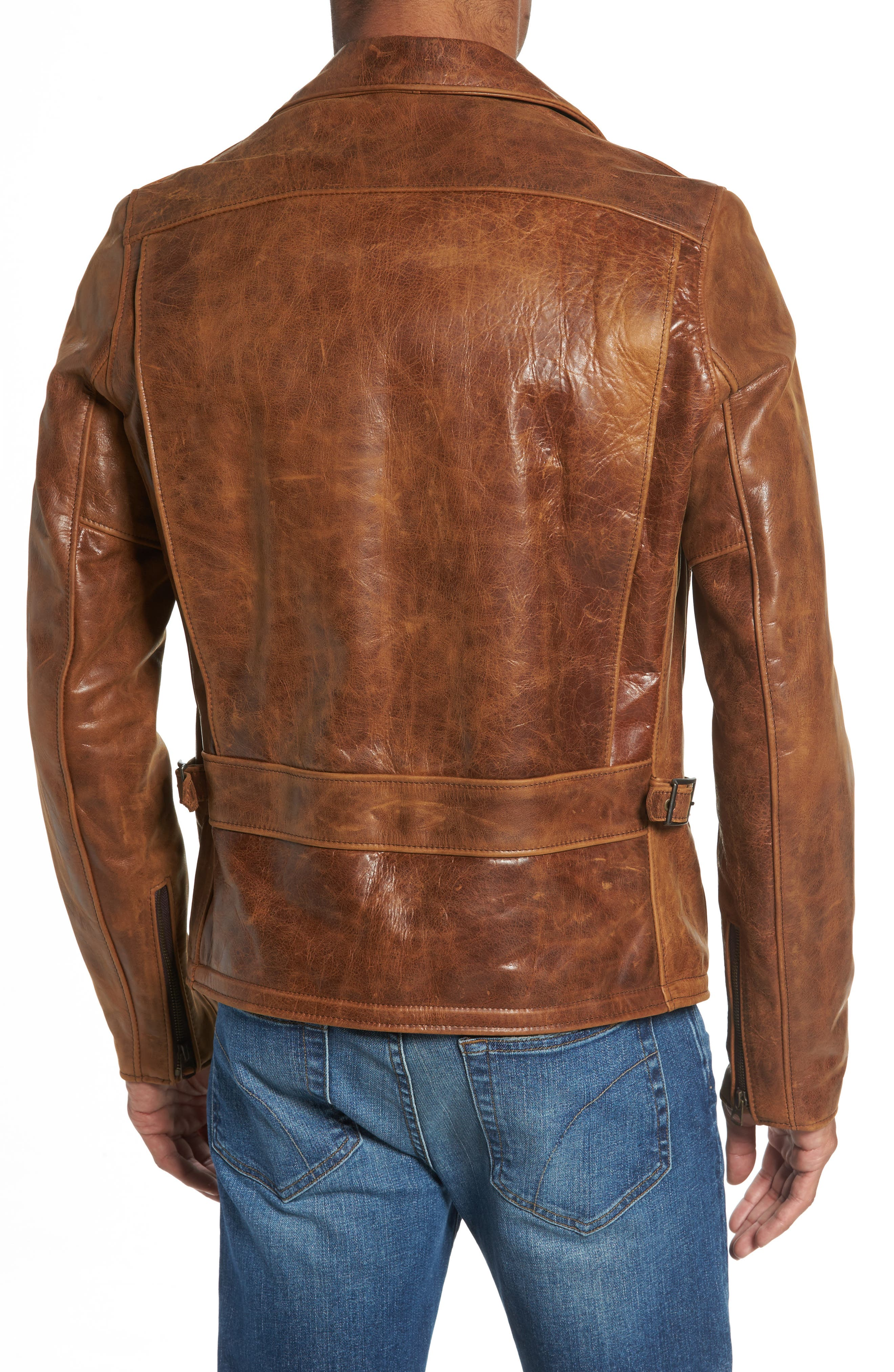 Asymmetrical Waxy Leather Jacket,                             Alternate thumbnail 2, color,                             SYCAMORE