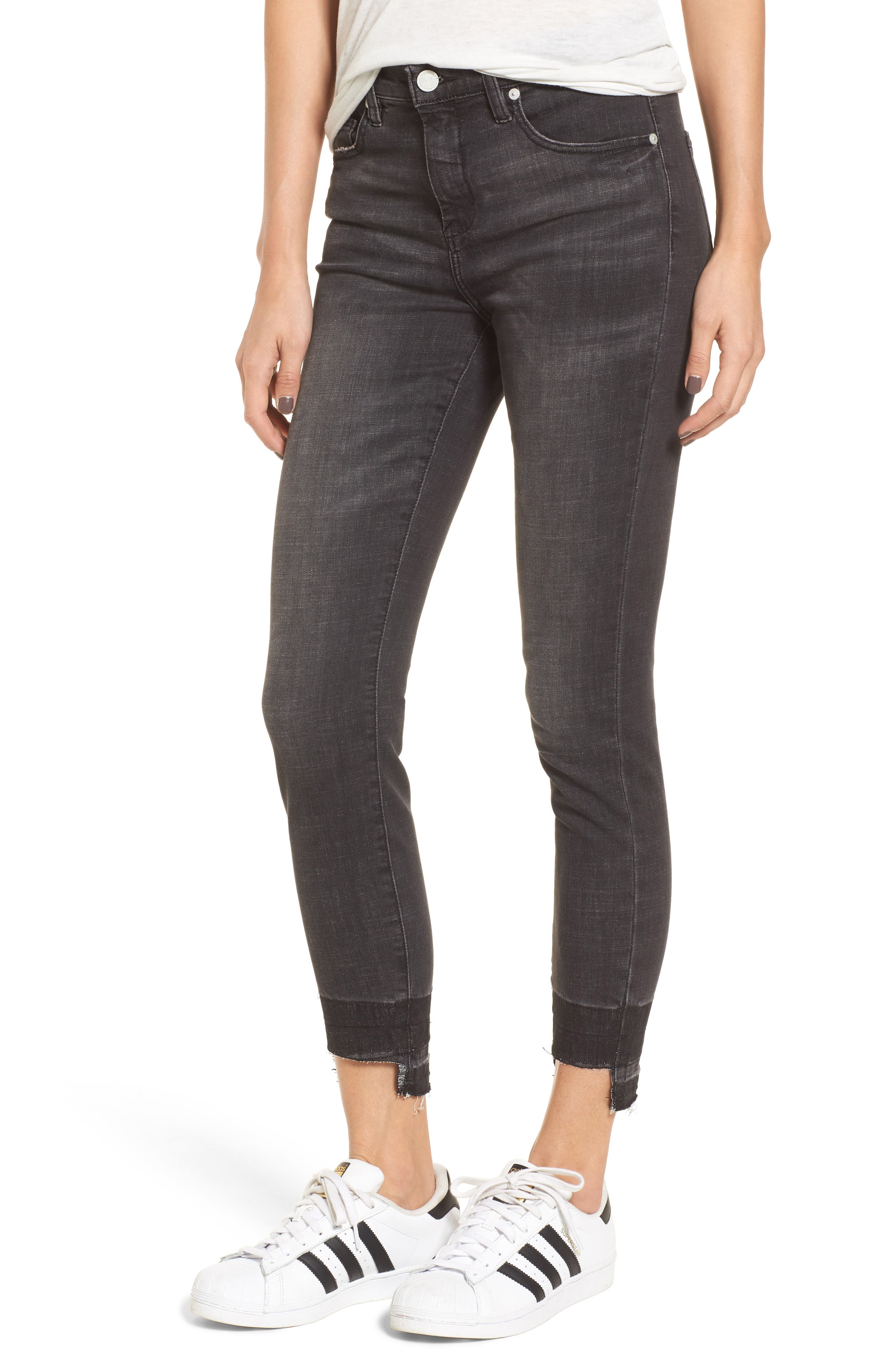 Cry Baby Release Hem Skinny Jeans,                             Main thumbnail 1, color,                             001