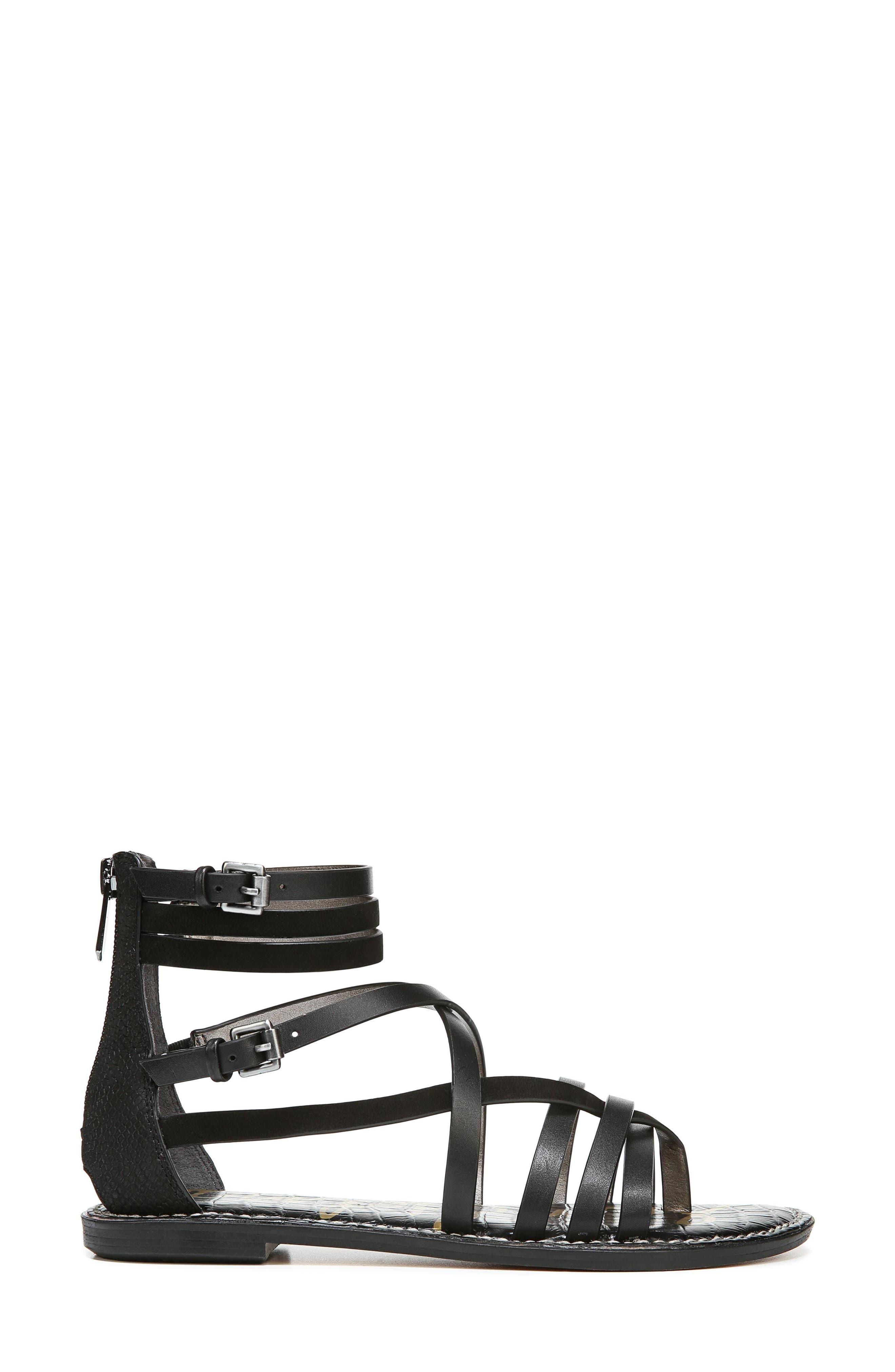 Ganesa Strappy Sandal,                             Alternate thumbnail 3, color,                             BLACK LEATHER