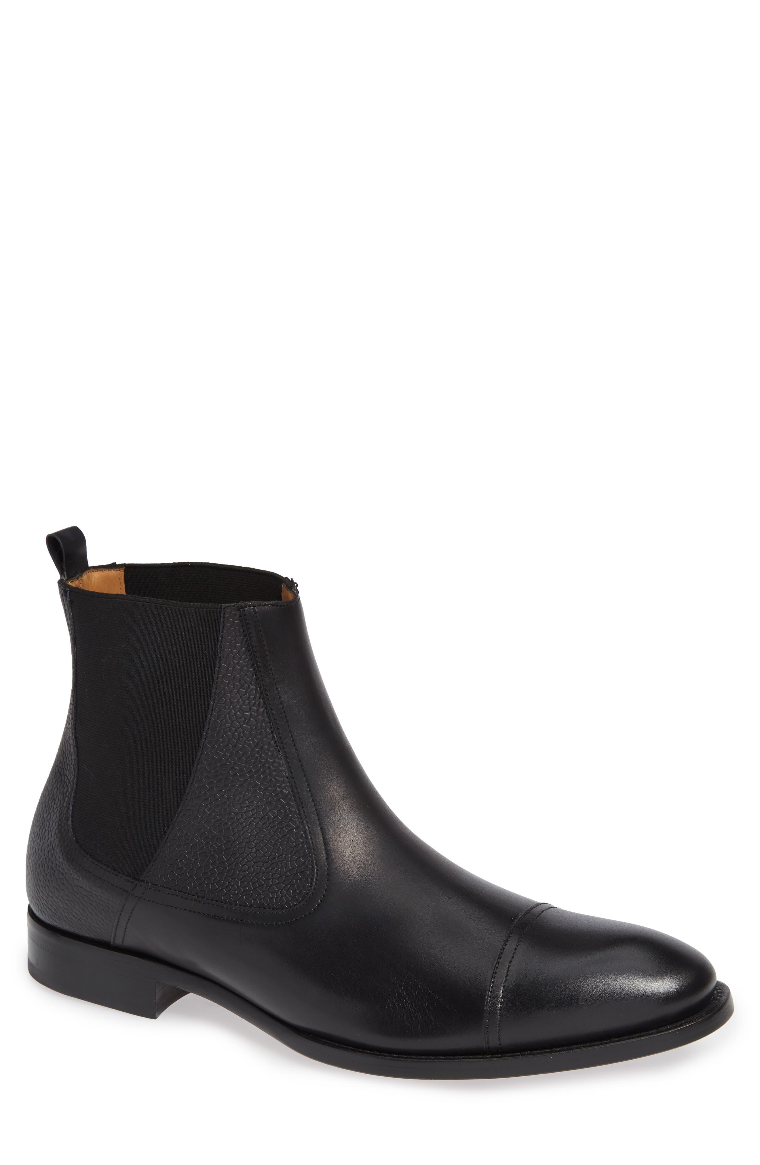 Higgins Cap Toe Chelsea Boot, Main, color, BLACK LEATHER