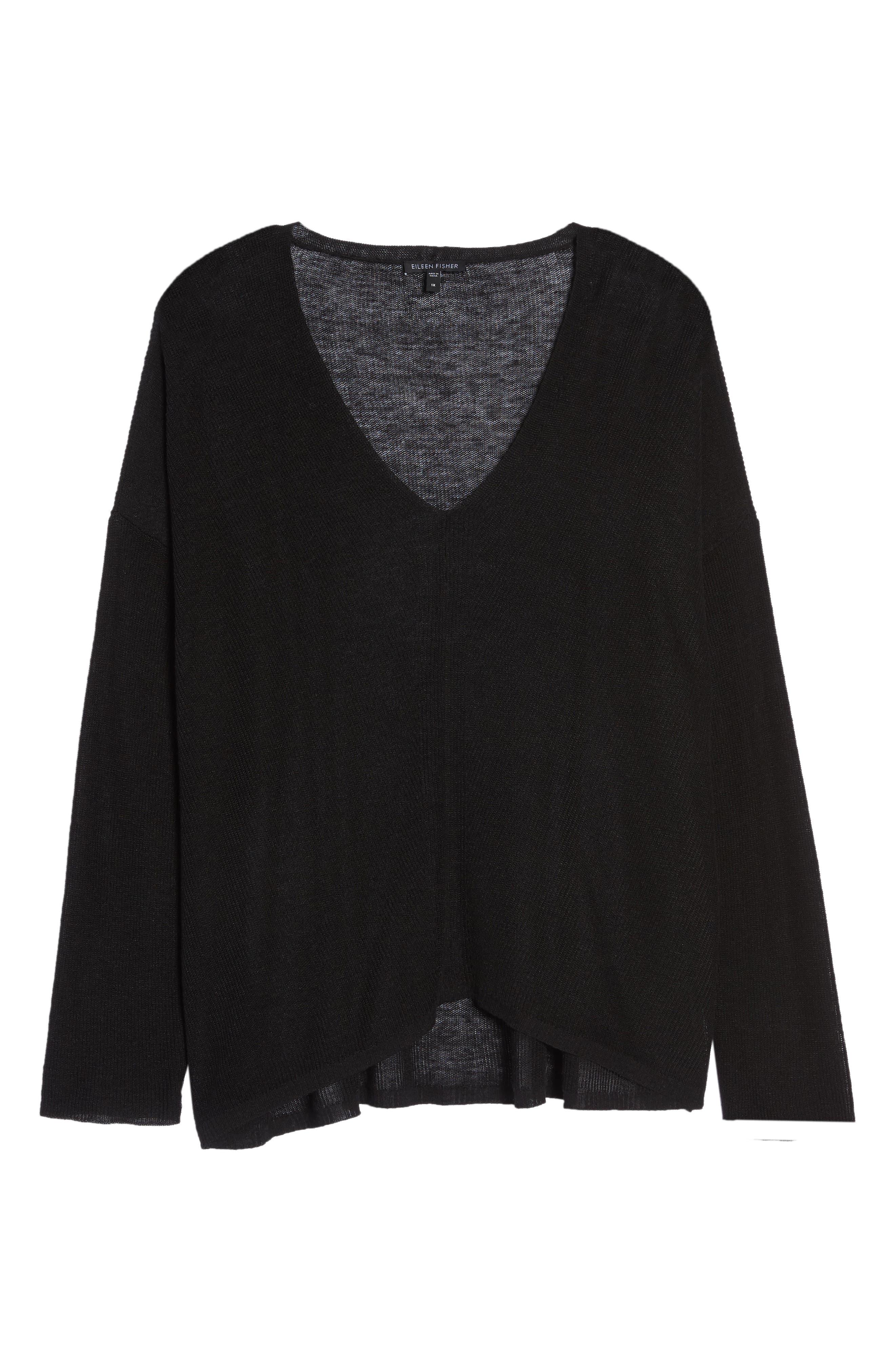 Boxy Organic Linen Blend Sweater,                             Alternate thumbnail 6, color,                             001