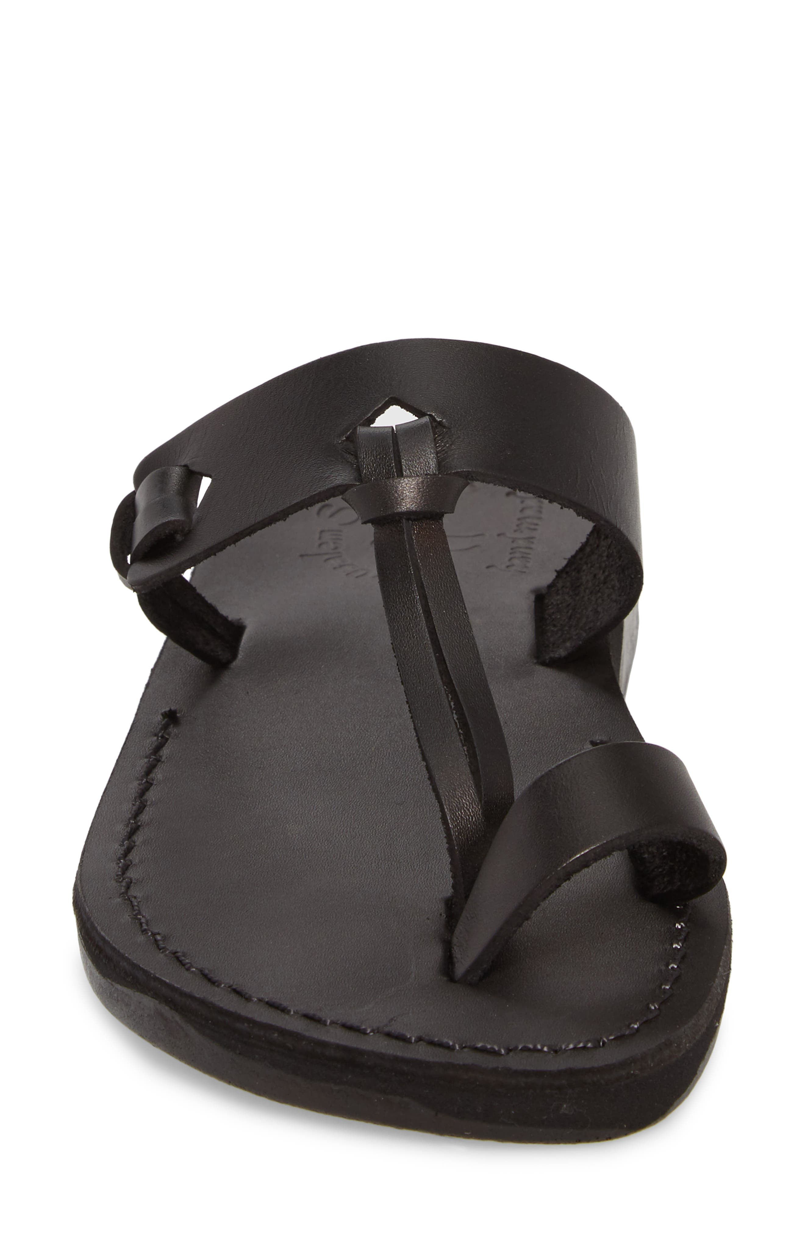 JERUSALEM SANDALS,                             David Toe-Loop Sandal,                             Alternate thumbnail 4, color,                             BLACK LEATHER