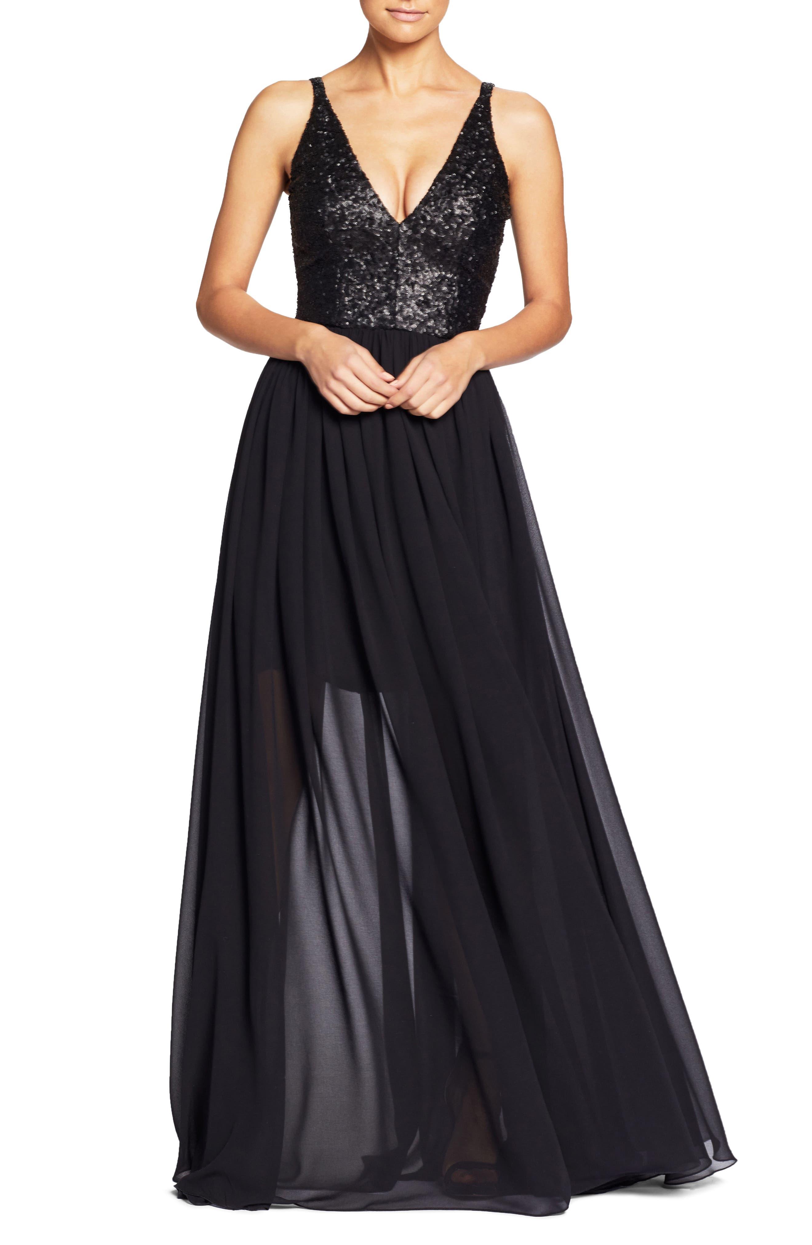 Lori Sequin Plunging Chiffon Gown,                         Main,                         color, MATTE BLACK