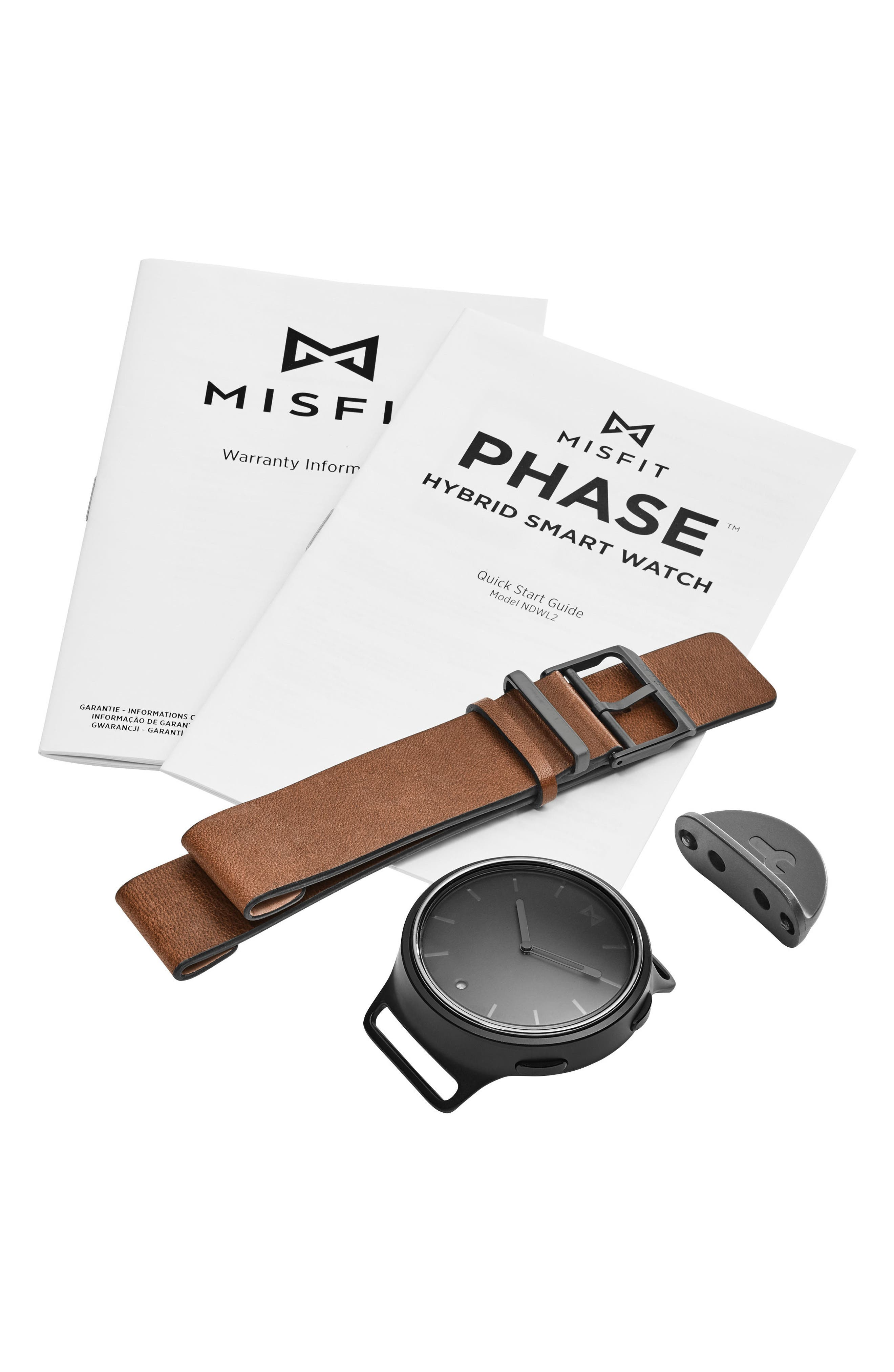 Phase Leather Strap Smart Watch, 40mm,                             Alternate thumbnail 16, color,