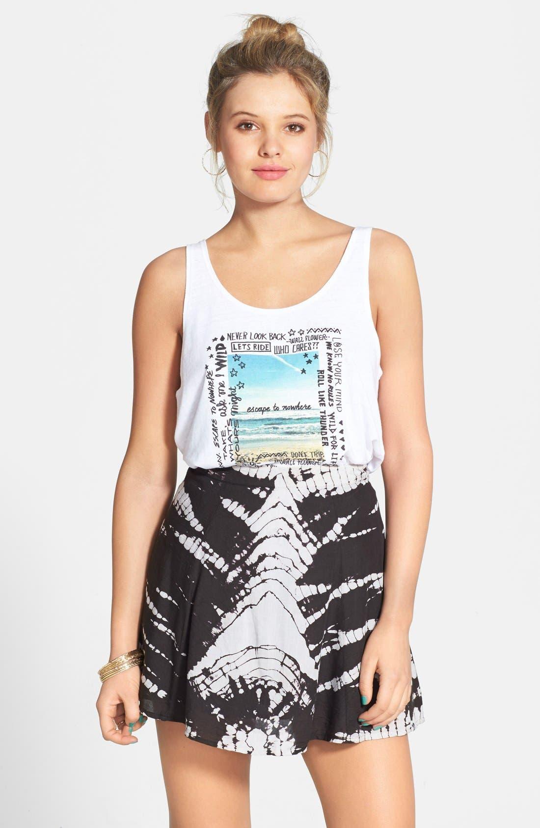 'Sk8r Girl' Print Skater Skirt, Main, color, 001
