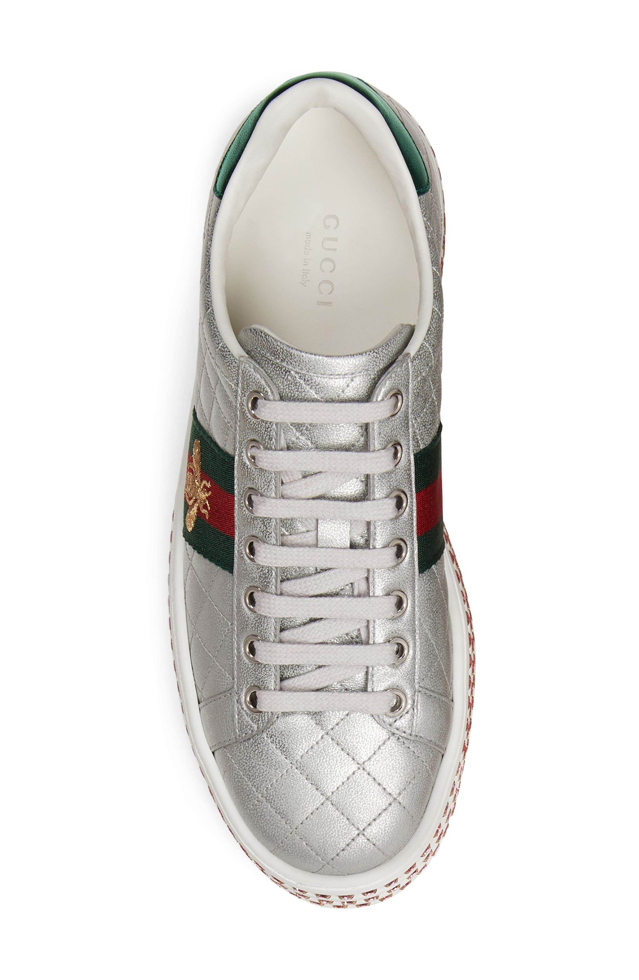 New Ace Platform Sneaker,                             Alternate thumbnail 4, color,                             ARGENTO LEATHER