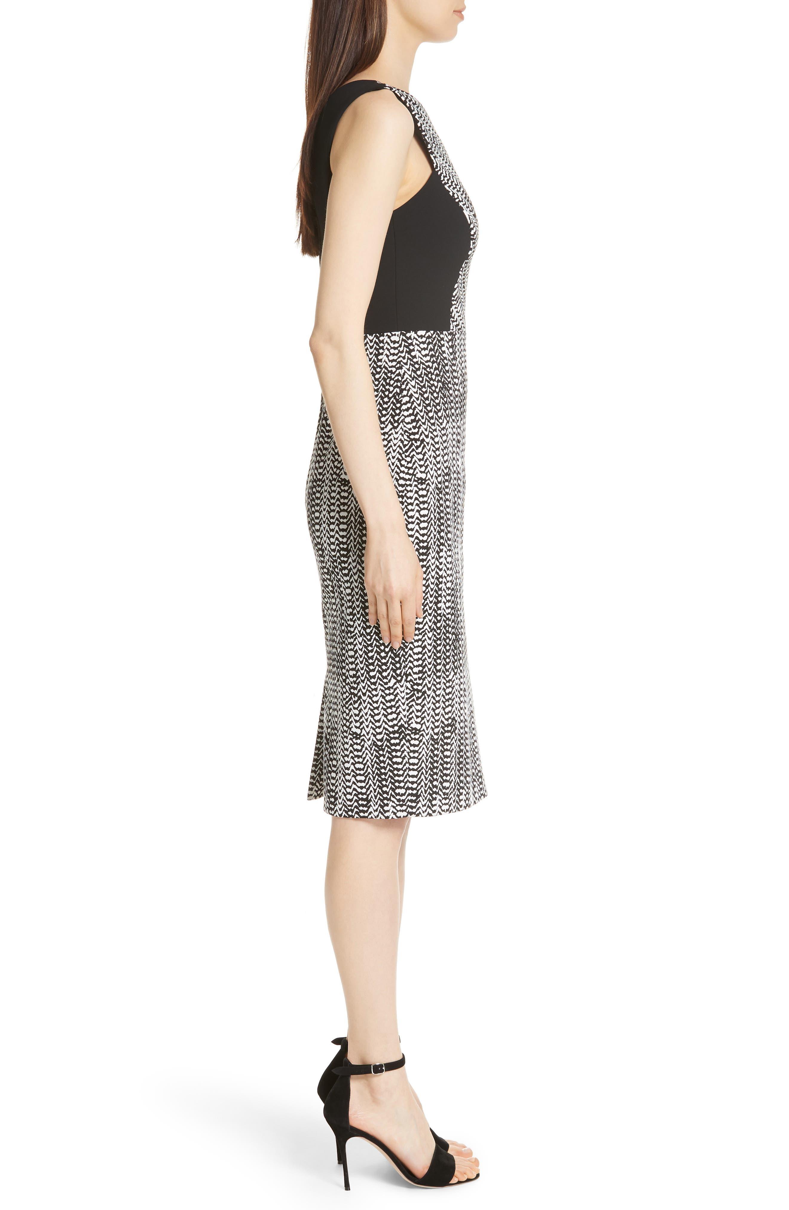 Herringbone Jacquard Sheath Dress,                             Alternate thumbnail 3, color,                             BLACK/ CHALK