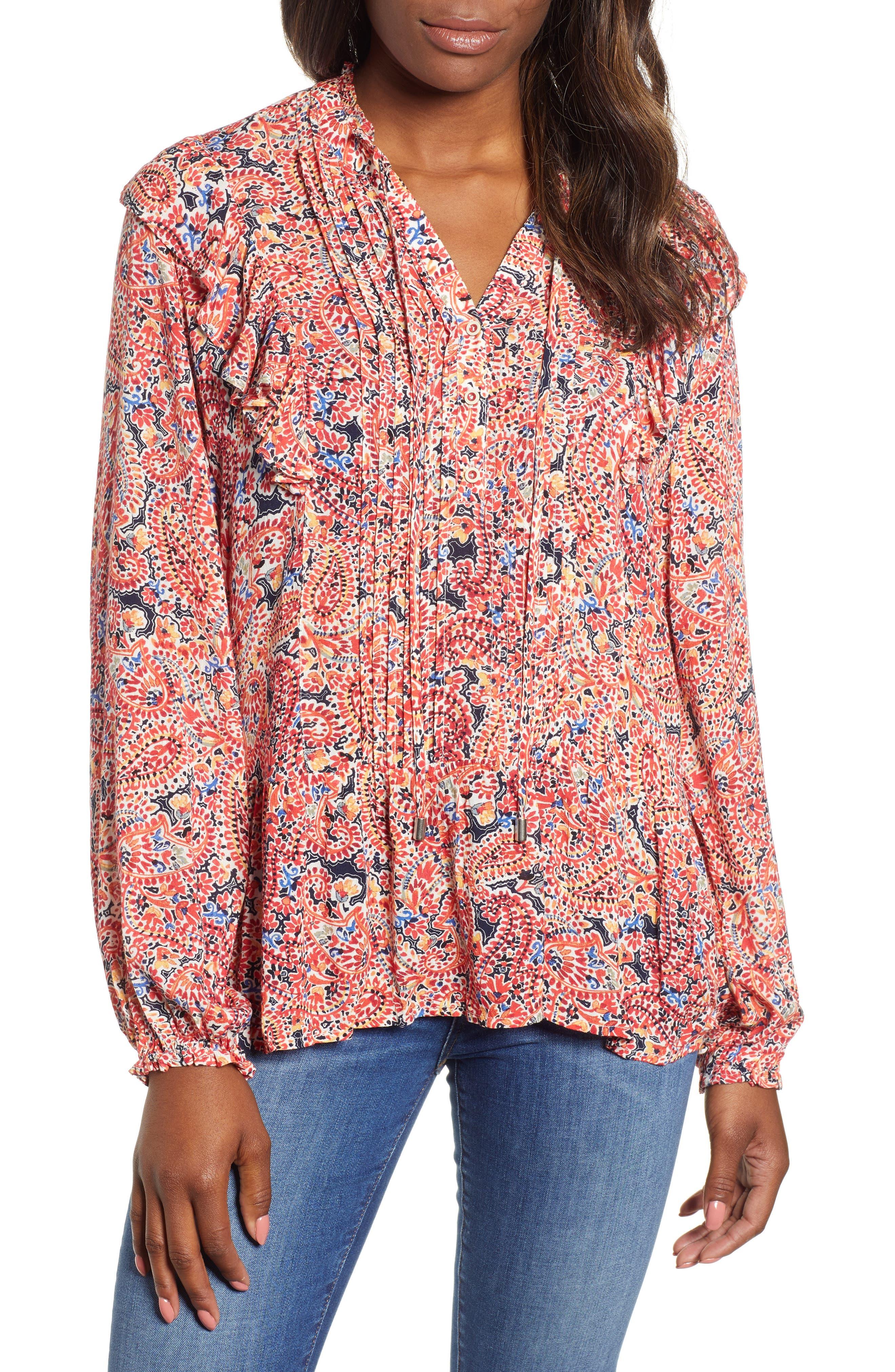 Ruffled Paisley Top,                         Main,                         color, ORANGE PEEL