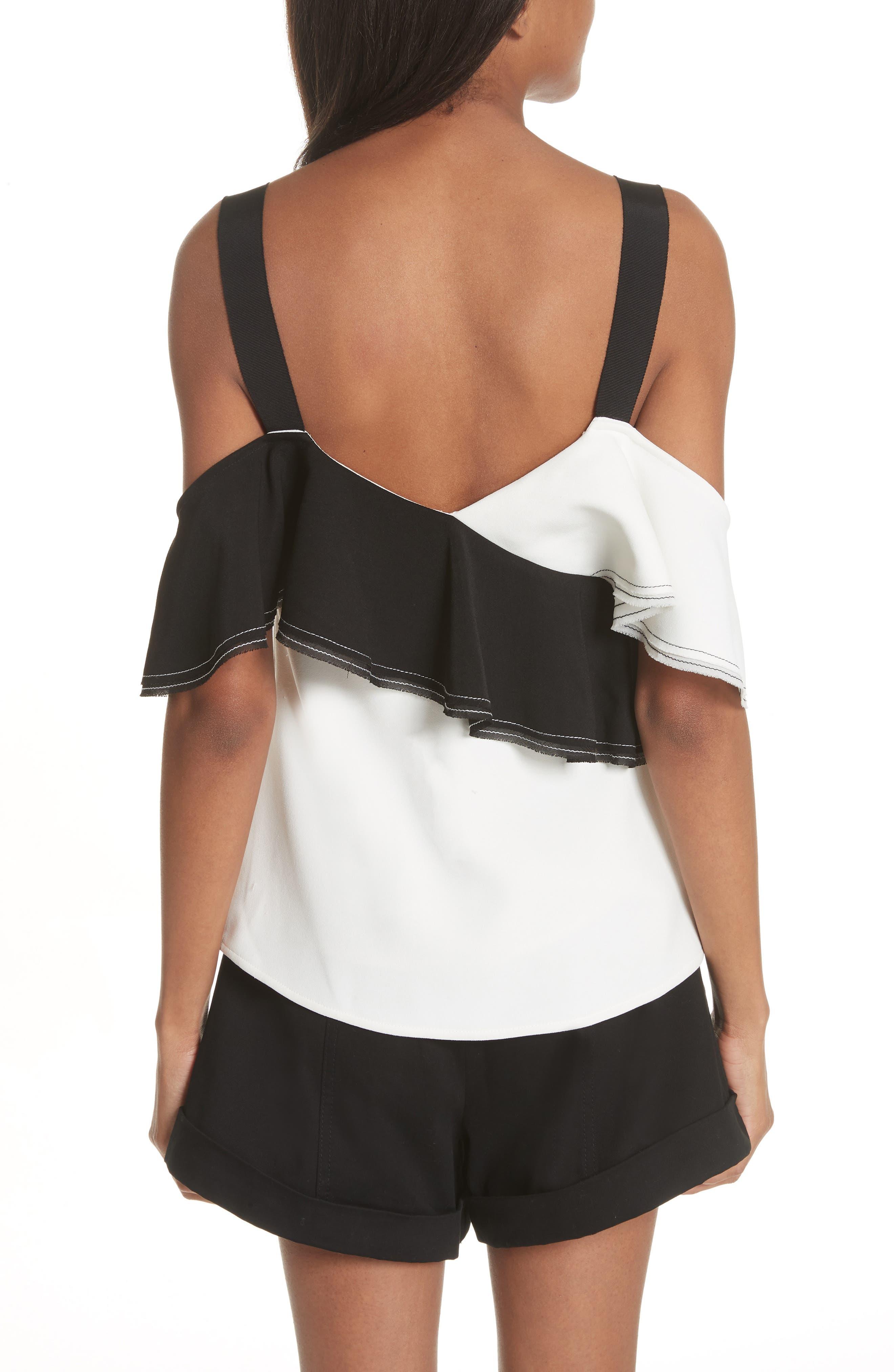 Harness Strap Cold Shoulder Blouse,                             Alternate thumbnail 2, color,                             BLACK/ WHITE