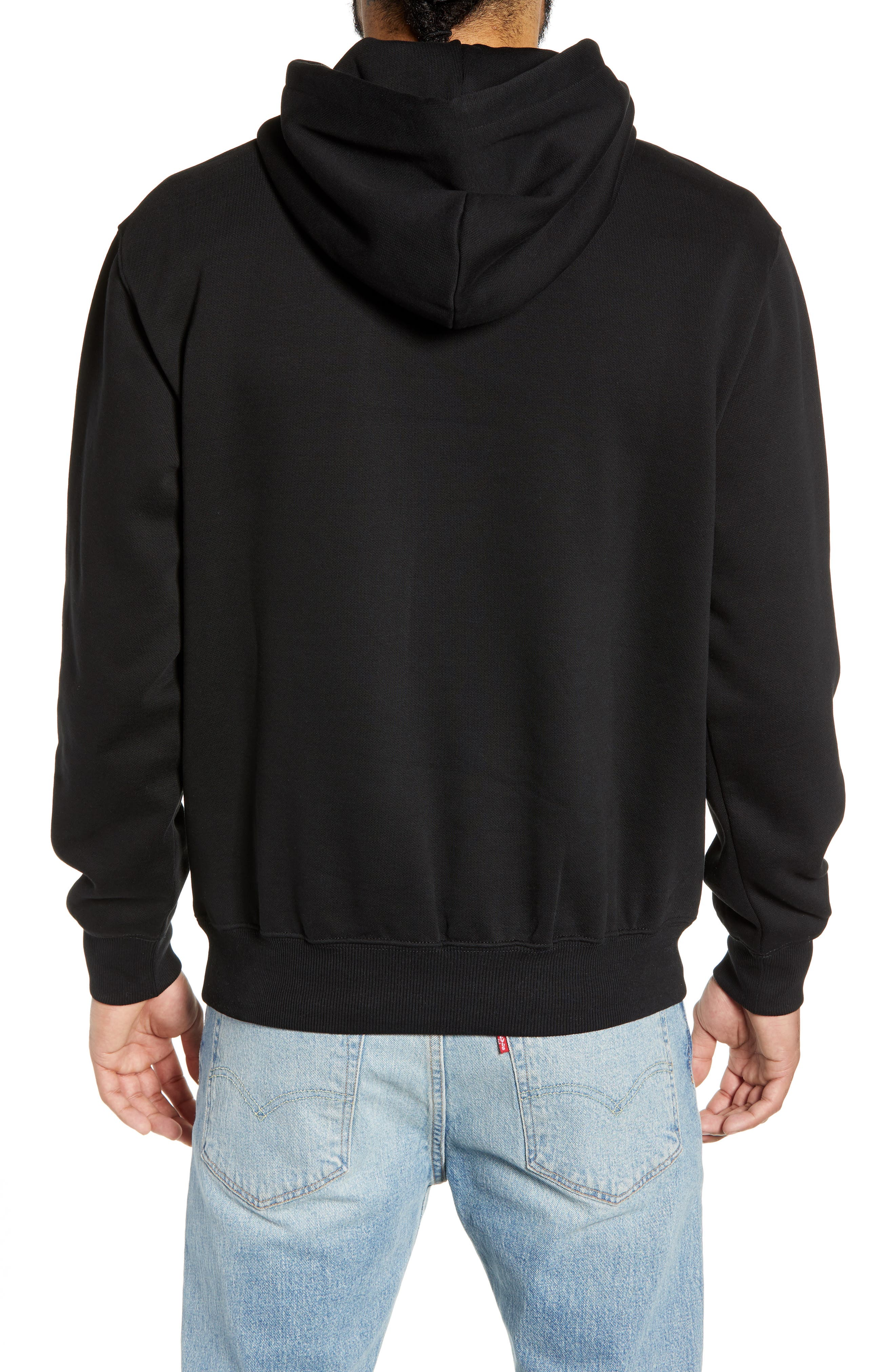 Logo Embroidered Hooded Sweatshirt,                             Alternate thumbnail 2, color,                             BLACK / WHITE