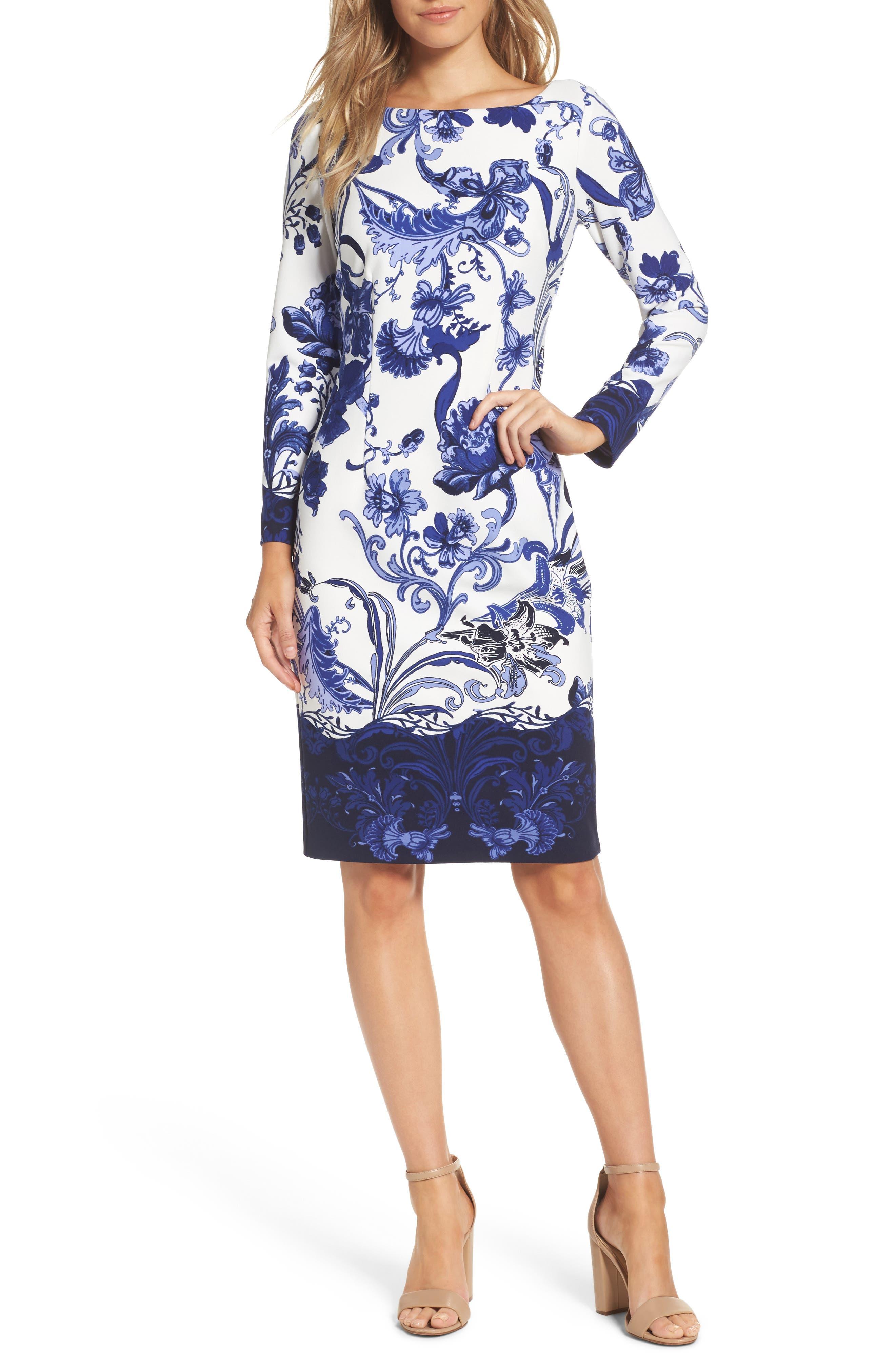 Print Long Sleeve Sheath Dress,                         Main,                         color, 421