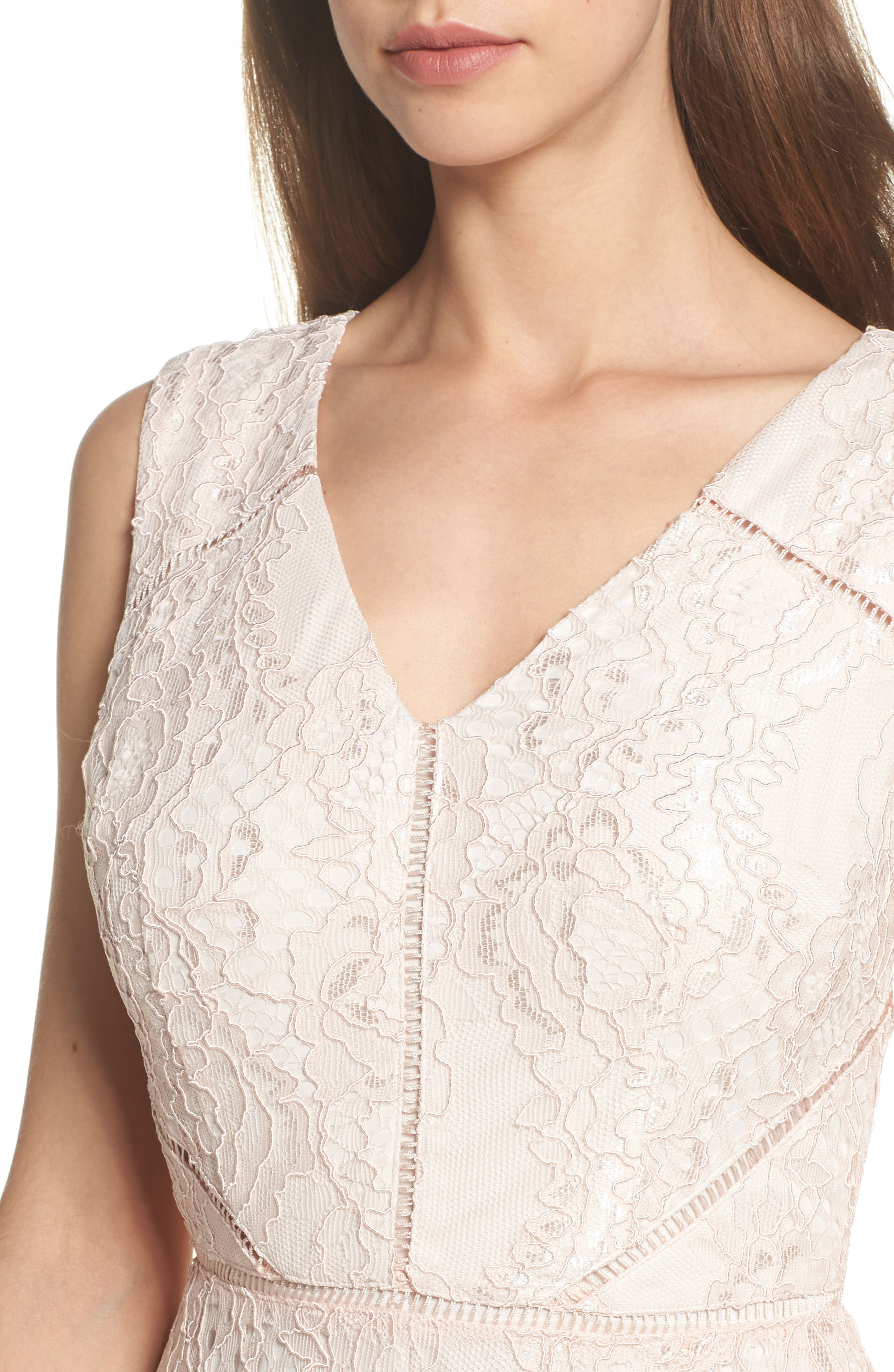 Rose Lace Fit & Flare Dress,                             Alternate thumbnail 4, color,                             686