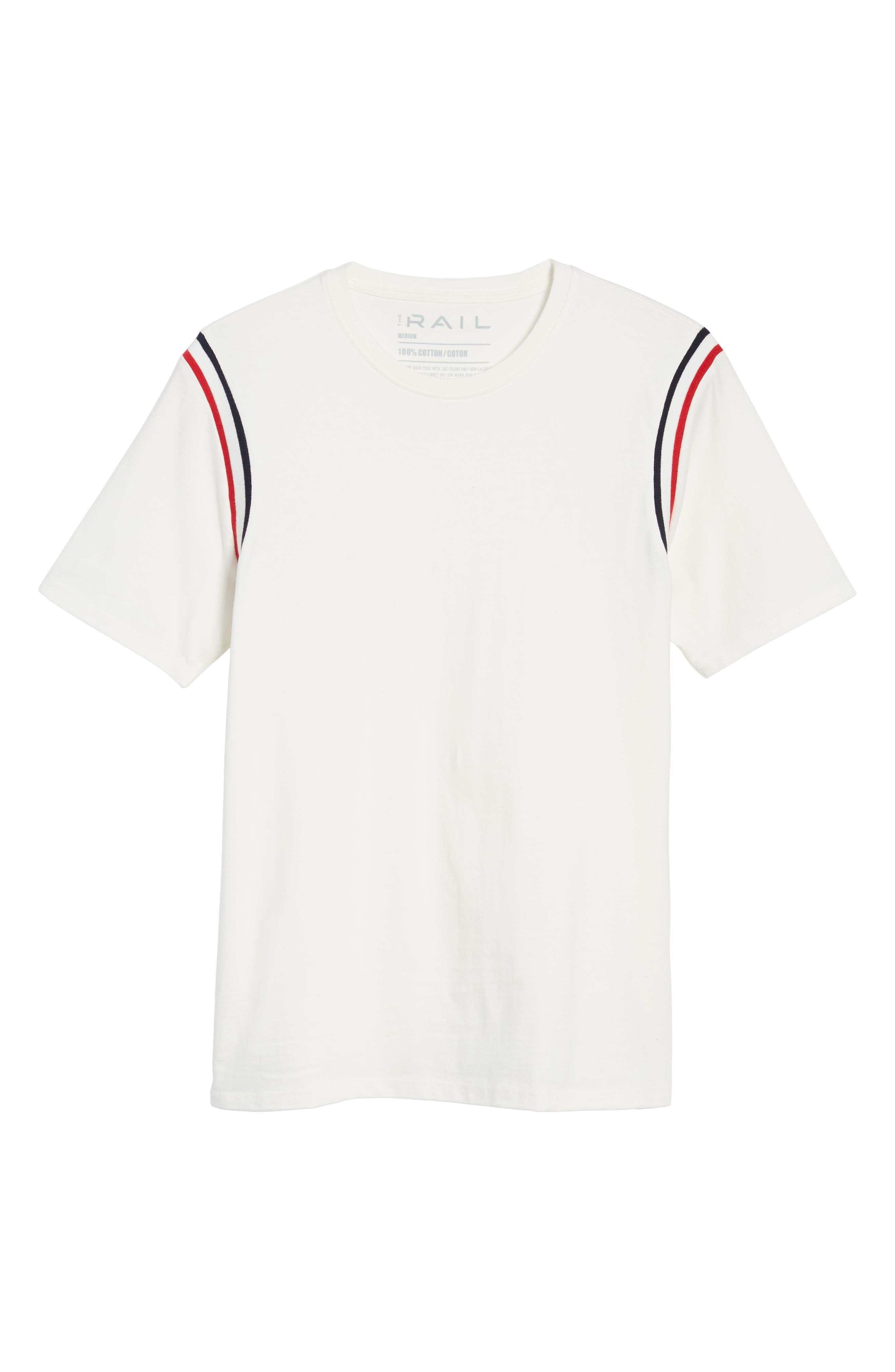 Ribbed Stripe T-Shirt,                             Alternate thumbnail 6, color,                             100