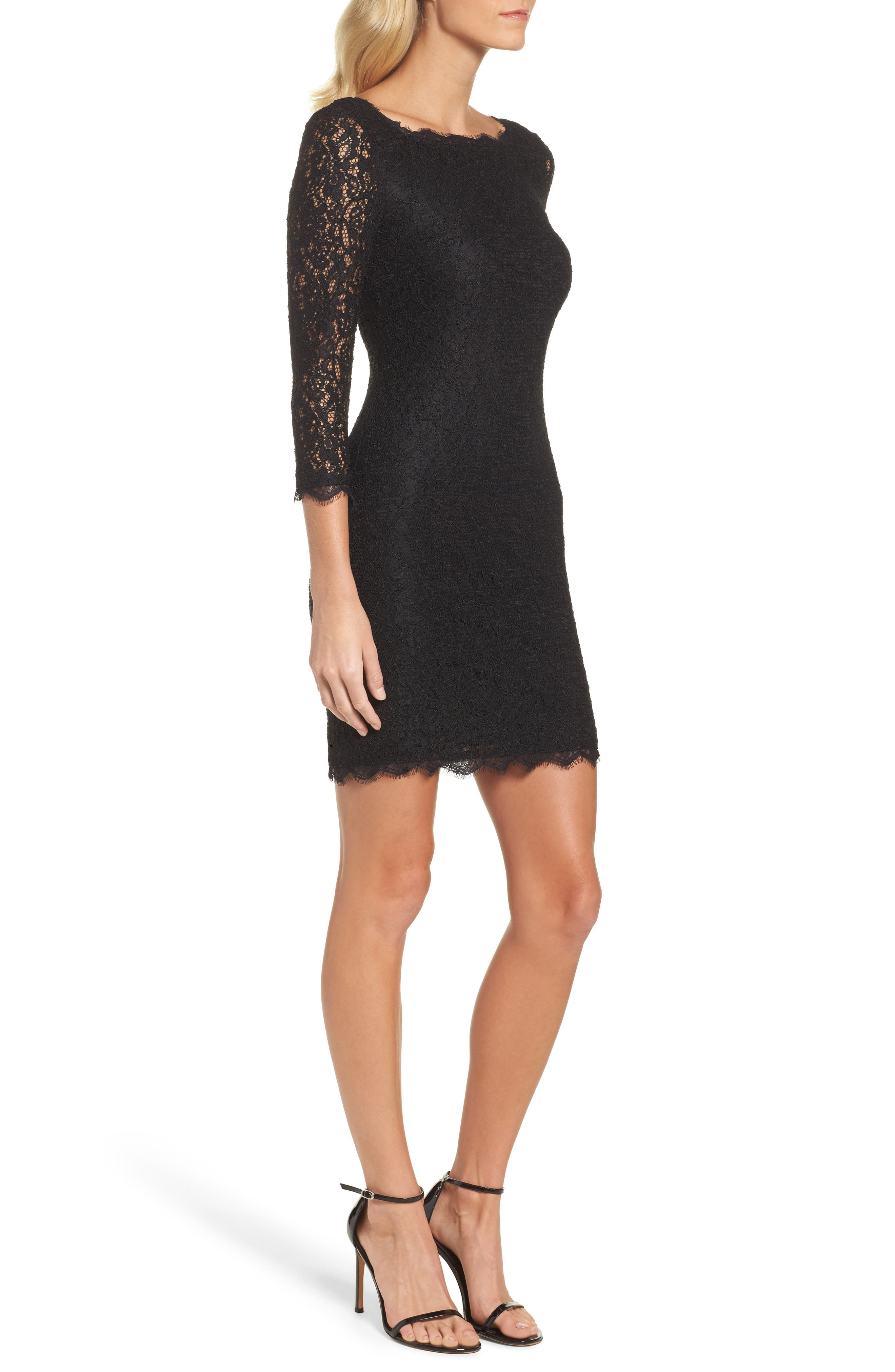 Lace Overlay Sheath Dress,                             Alternate thumbnail 4, color,                             001