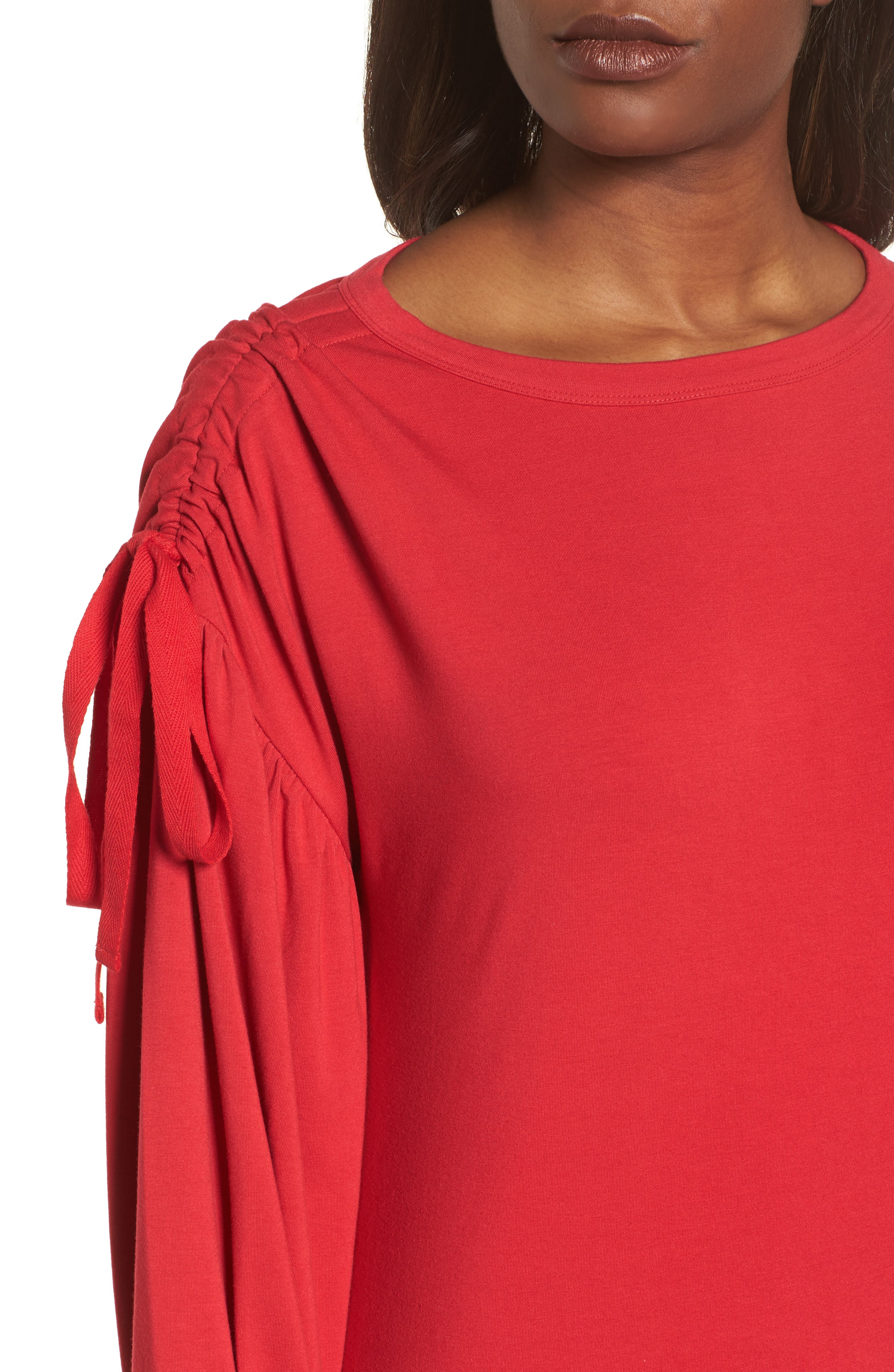 Ruched Bow Sleeve Top,                             Alternate thumbnail 16, color,