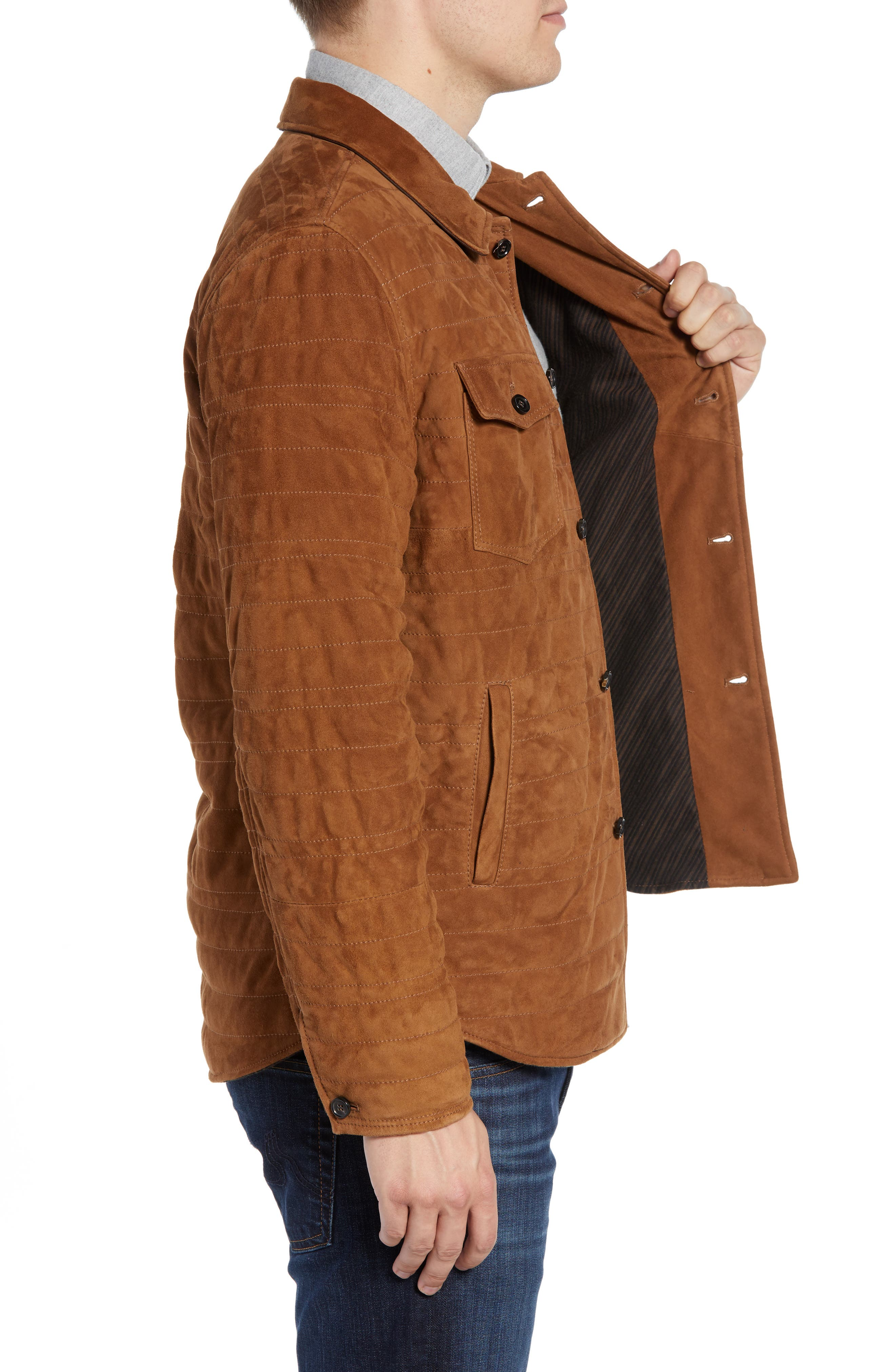 Regular Fit Quilted Suede Shirt Jacket,                             Alternate thumbnail 3, color,                             RUBBER