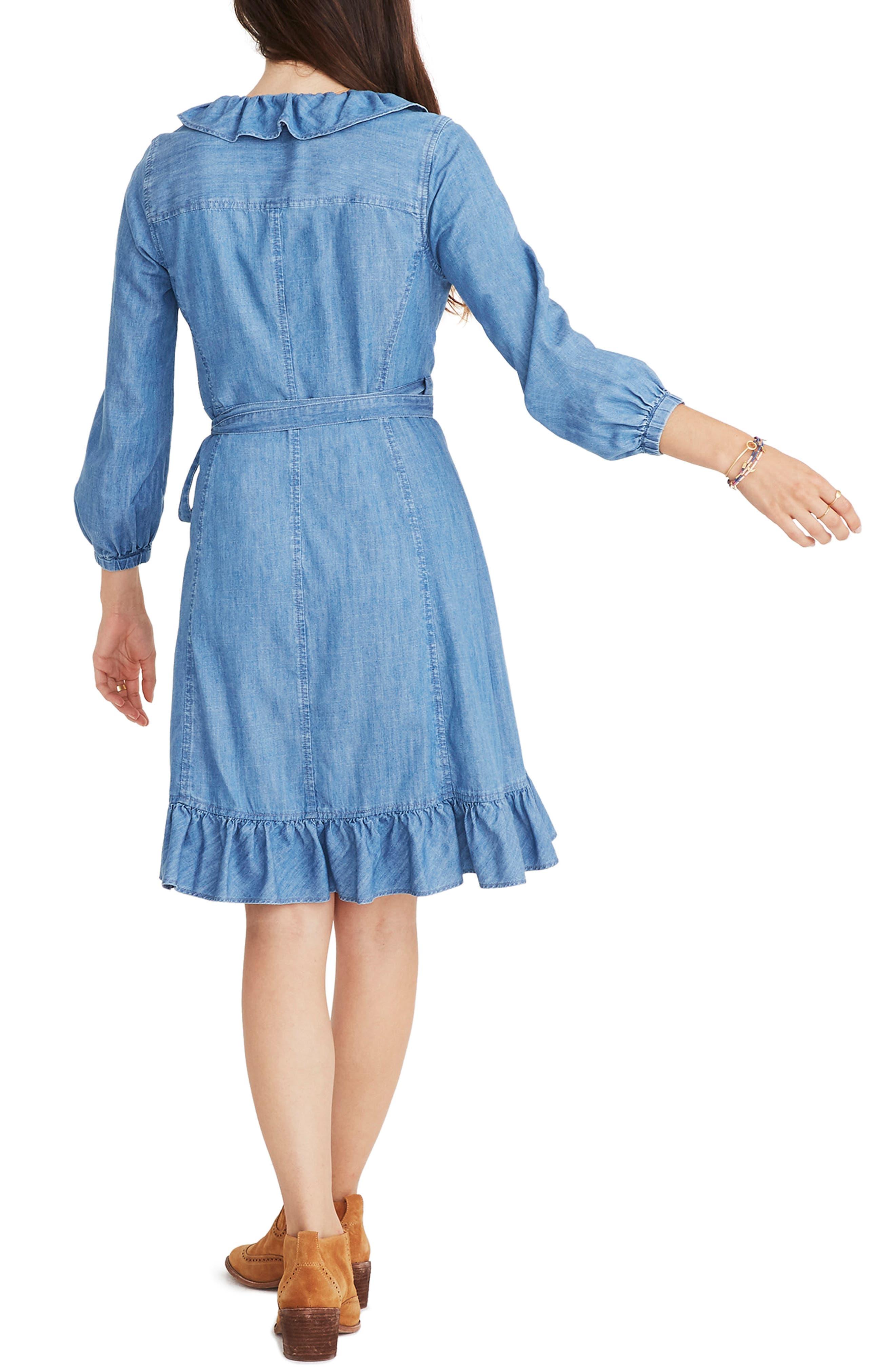 Denim Ruffle Wrap Dress,                             Alternate thumbnail 2, color,                             400