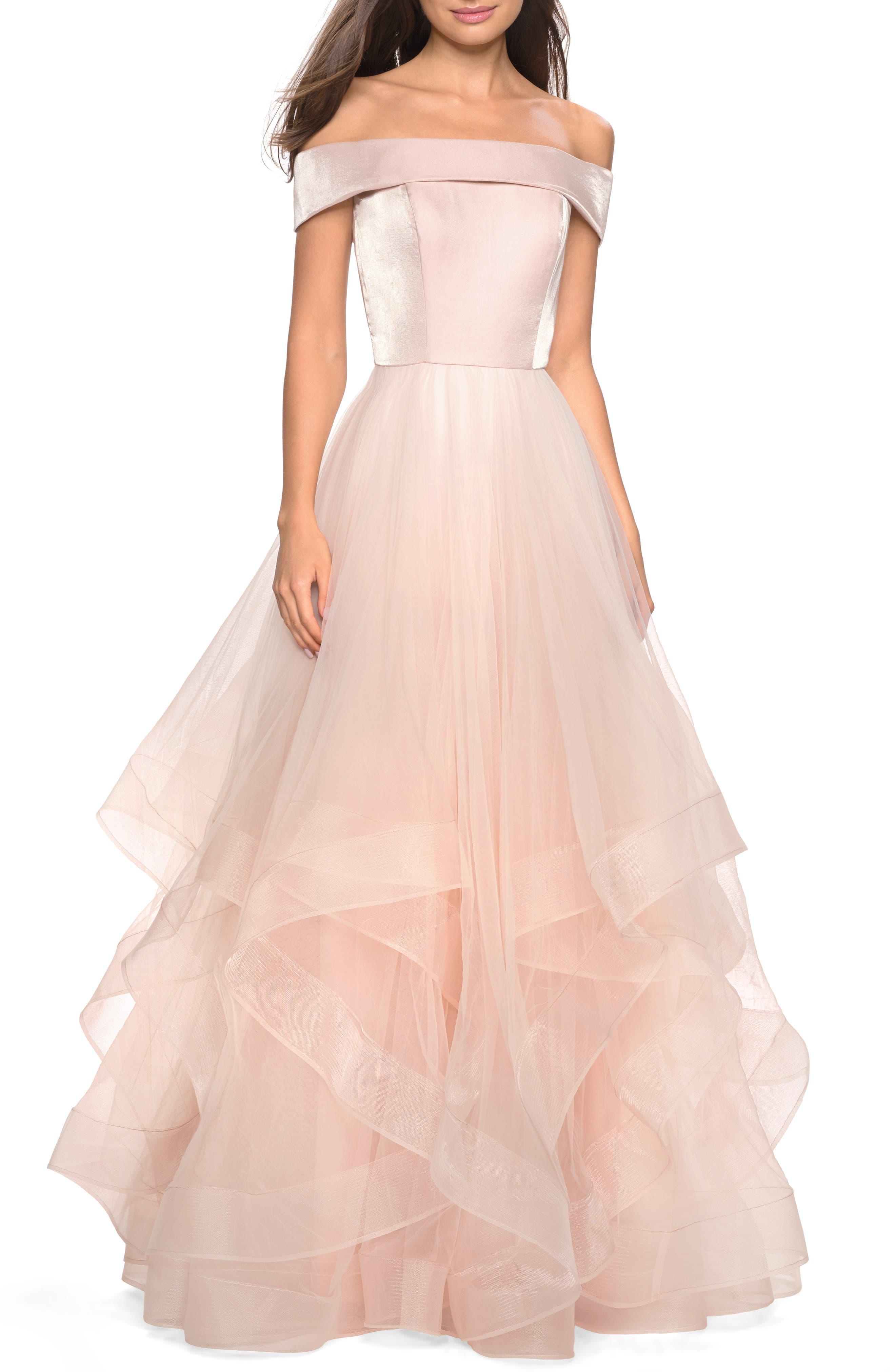 La Femme Off The Shoulder Evening Dress, Pink