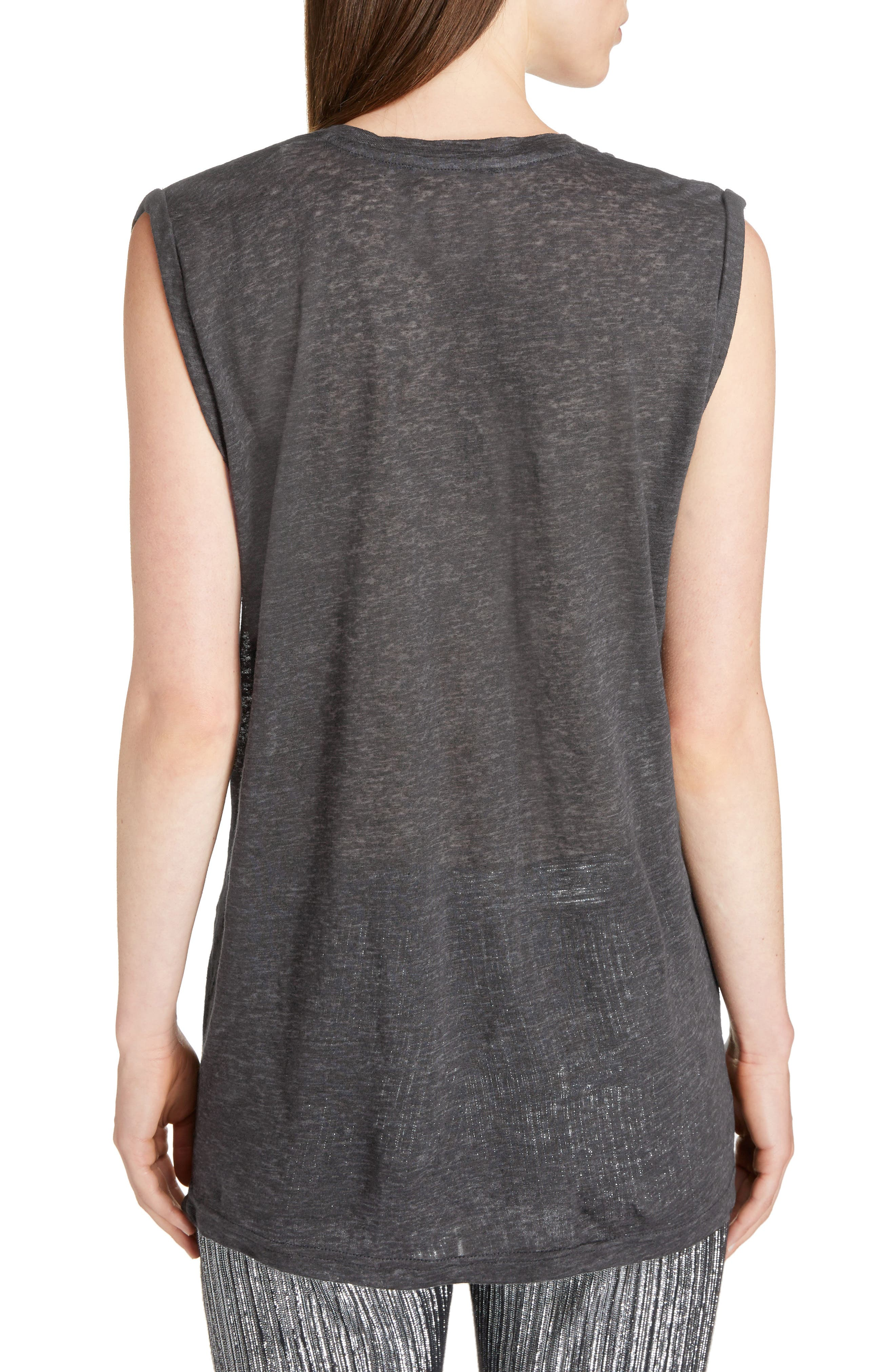 Draped Linen Tee,                             Alternate thumbnail 2, color,                             020