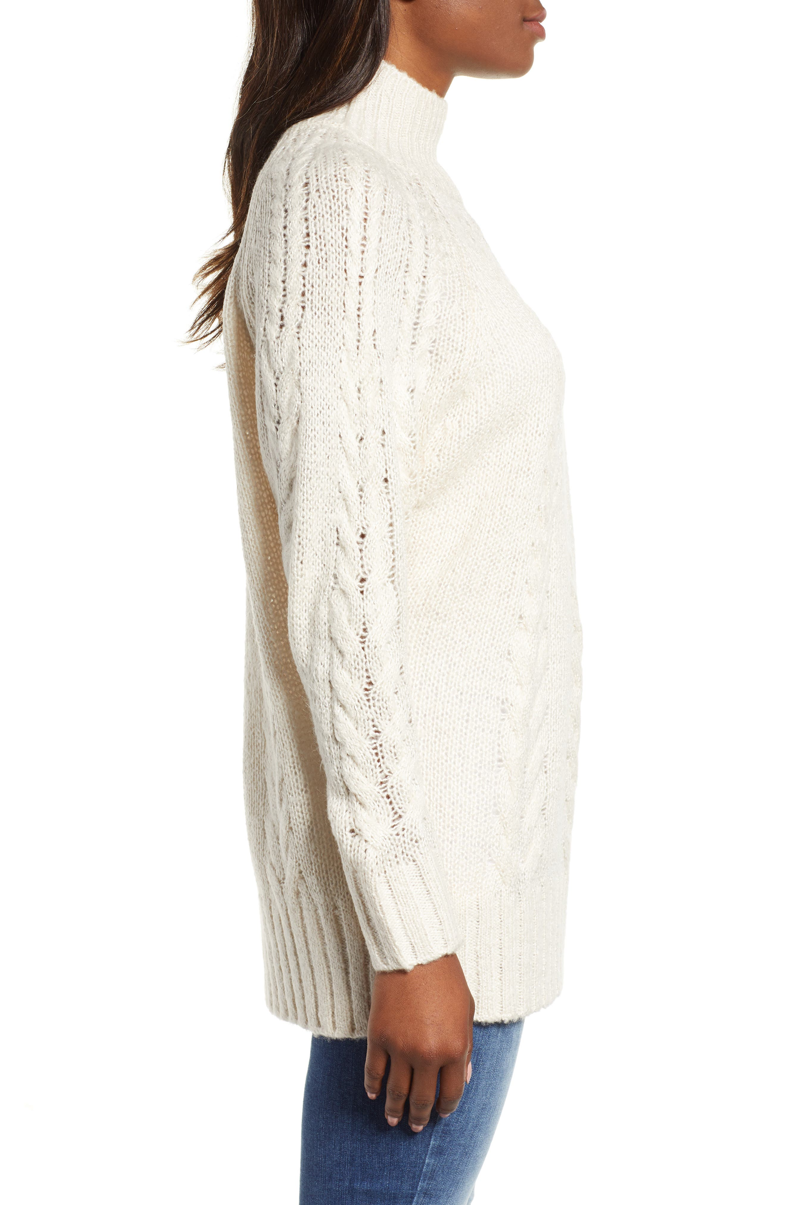 Dolman Sleeve Cable Knit Tunic,                             Alternate thumbnail 3, color,                             270